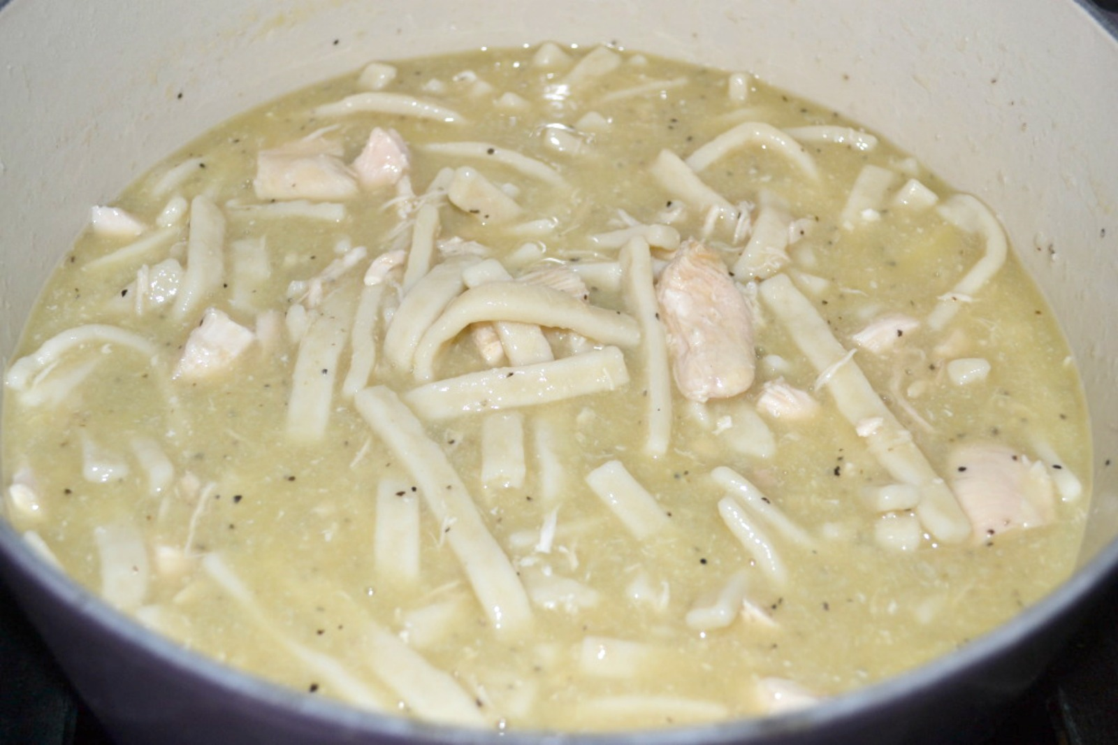 Homestyle chicken and noodles. Easy recipe with old fashioned flavor.