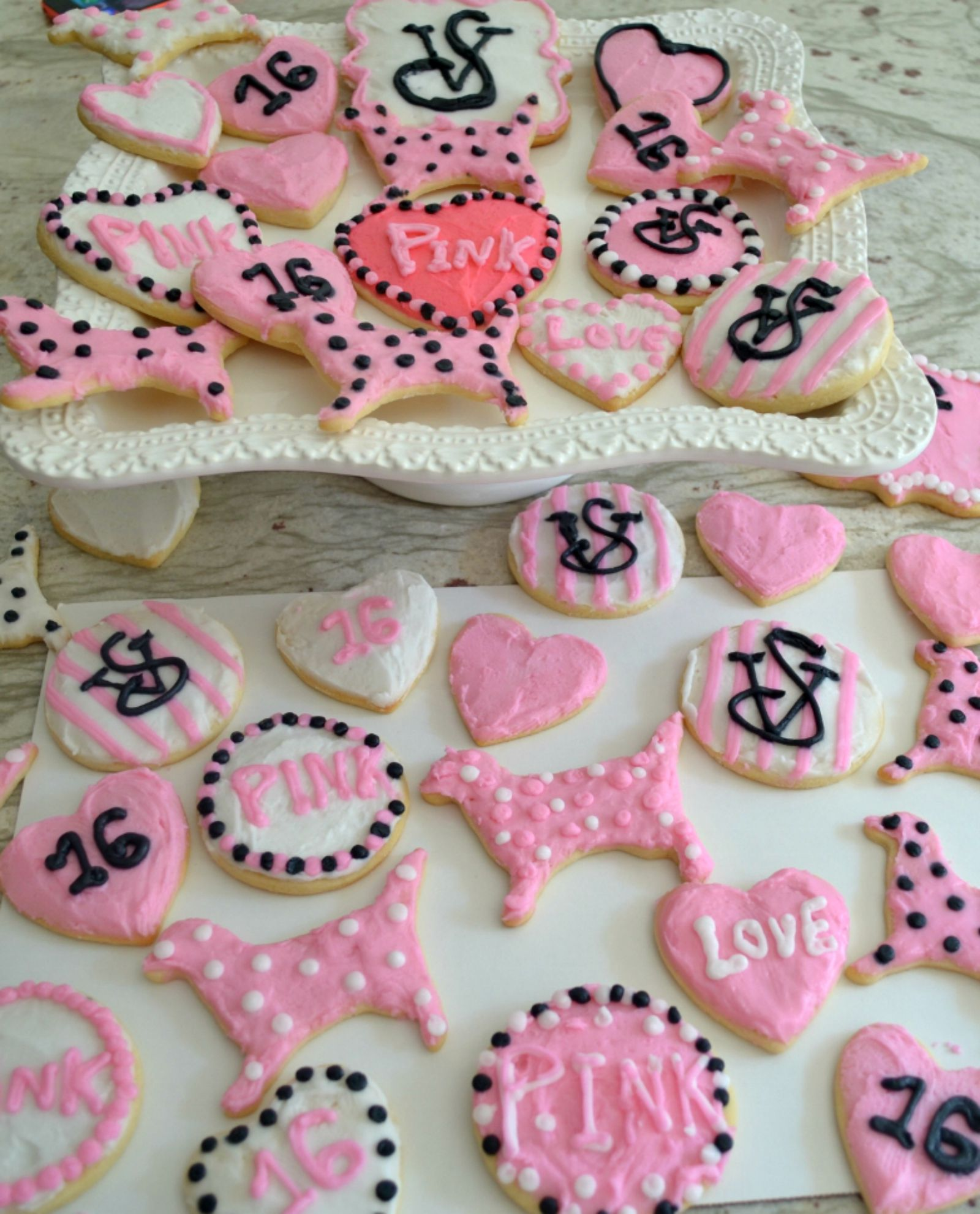 VS cookies, decorated sugar cookies for girls, pink sugar cookies
