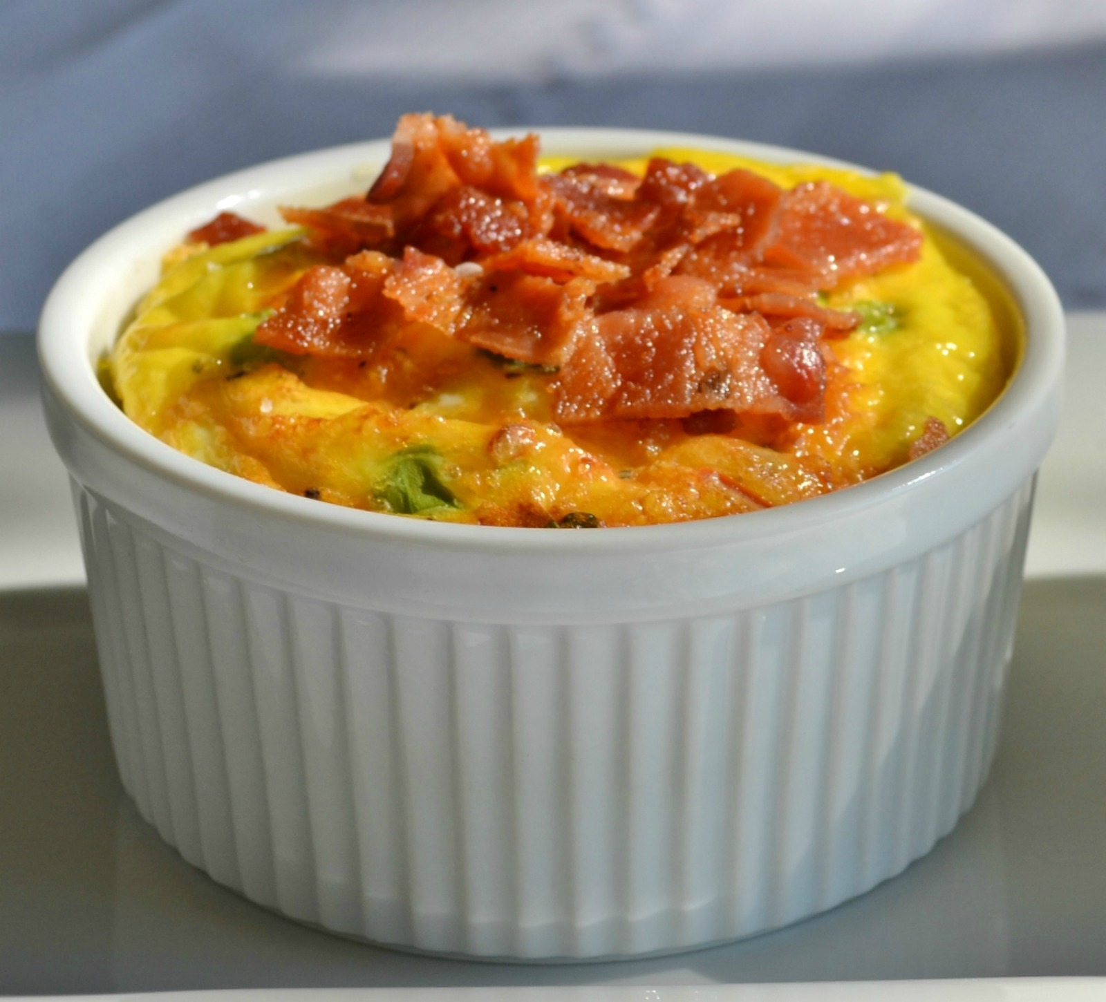 loaded crustless breakfast souffle, ramekins,