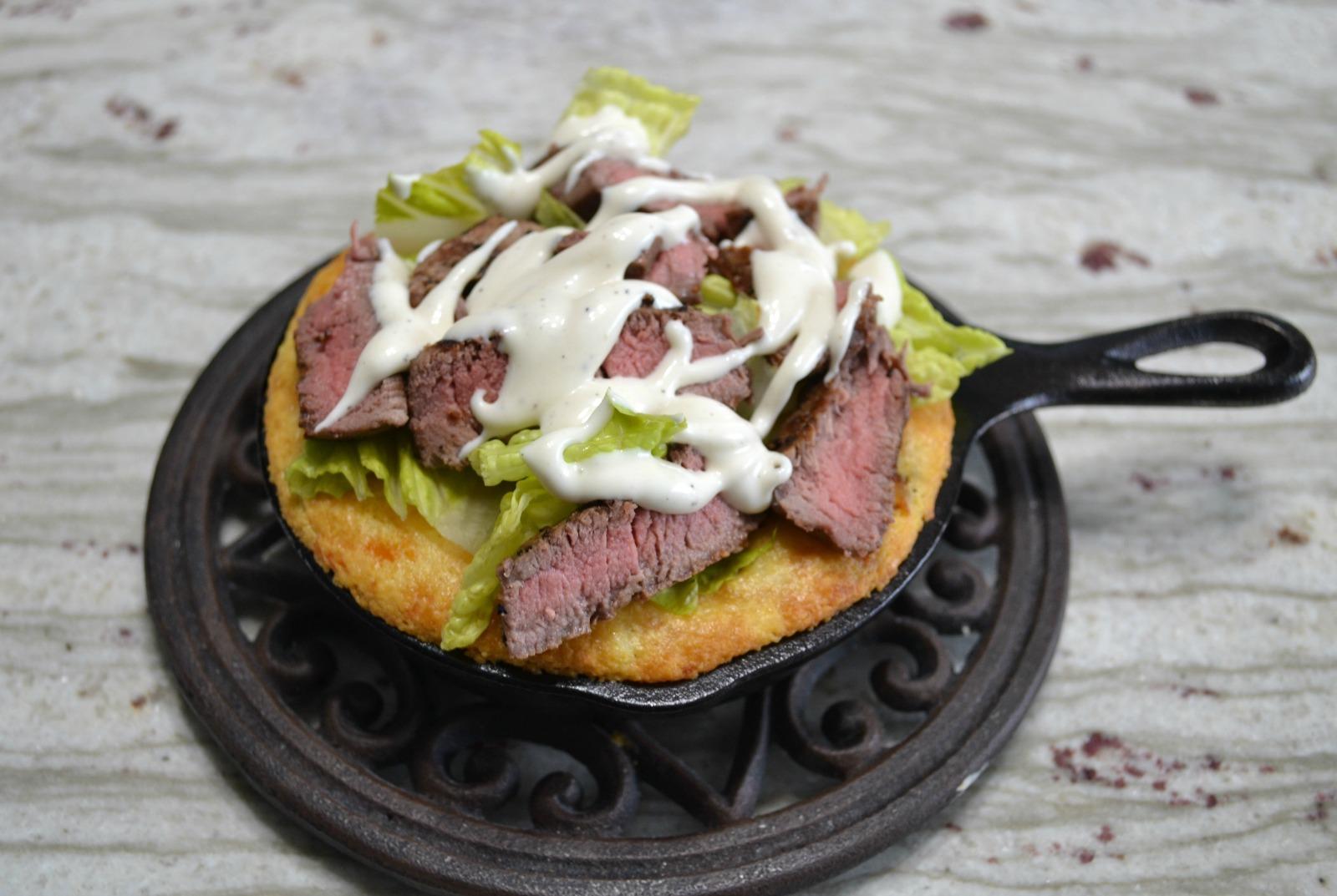 steak salad, mini cast iron skillet
