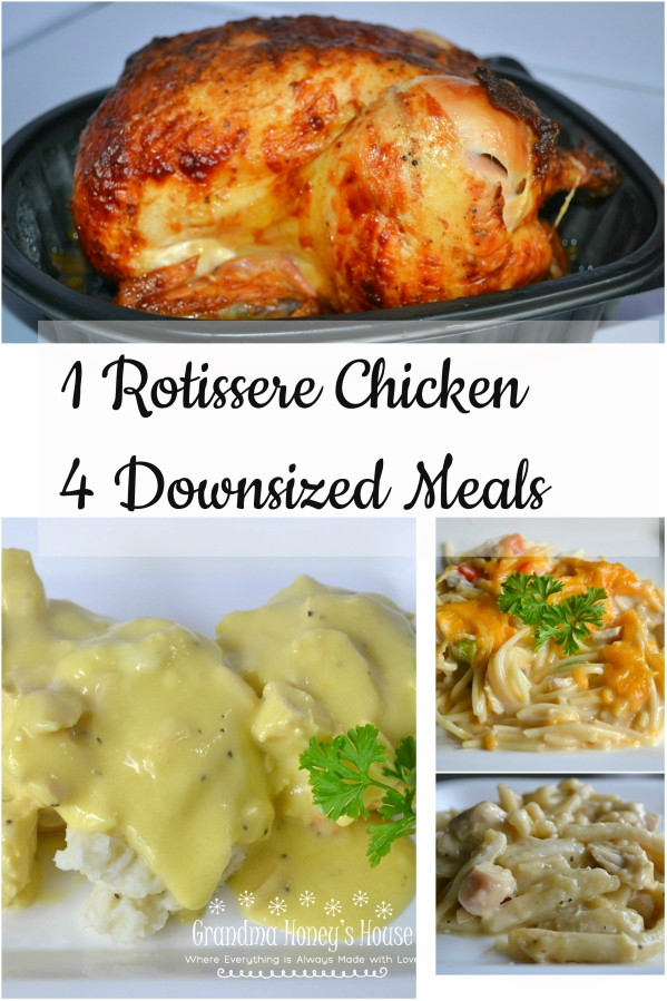 1 Rotissere Chicken can produce 4 downsized meals. Perfect for 2 people. Inexpensive and delicious.