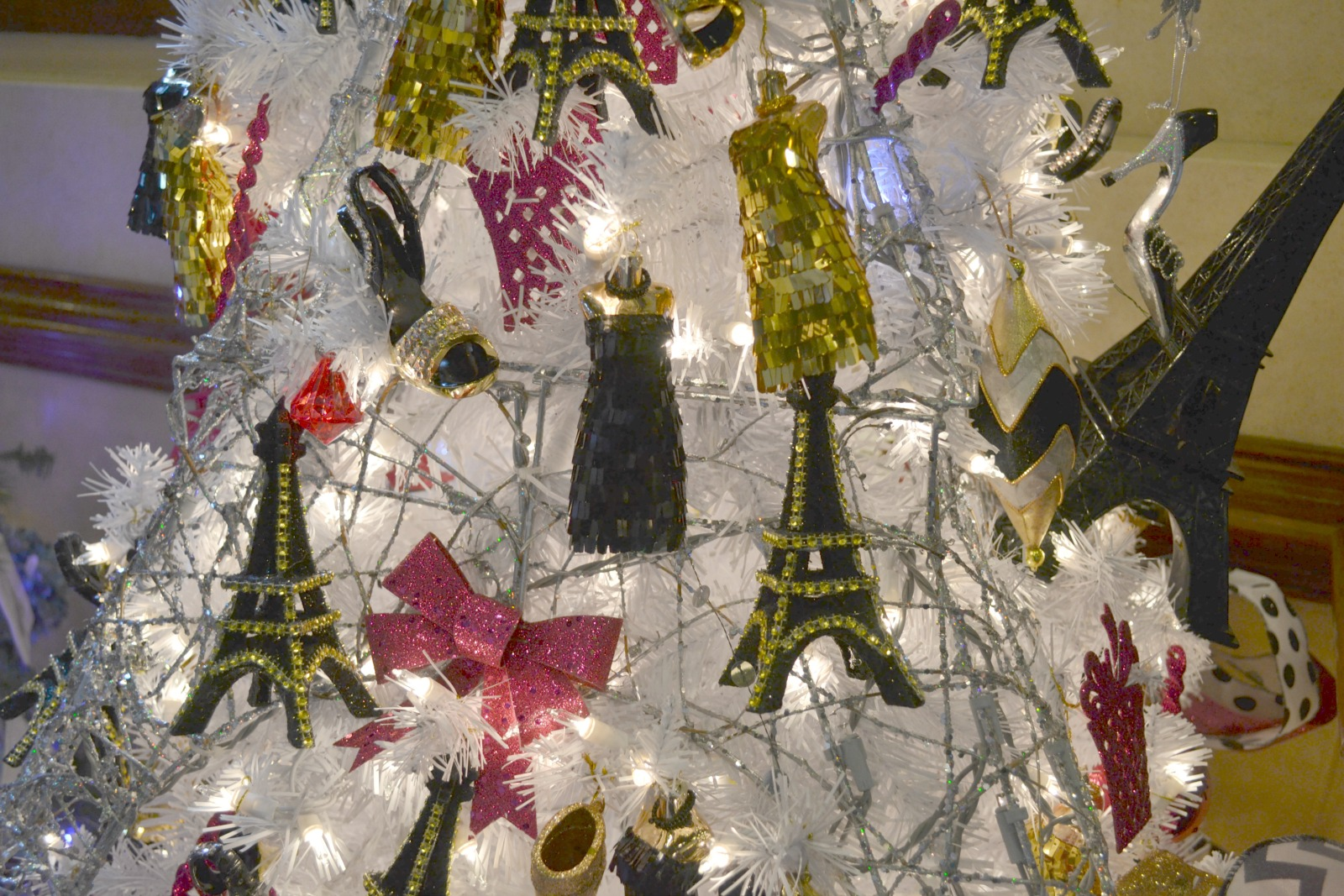 close-up of PARIS themed tree