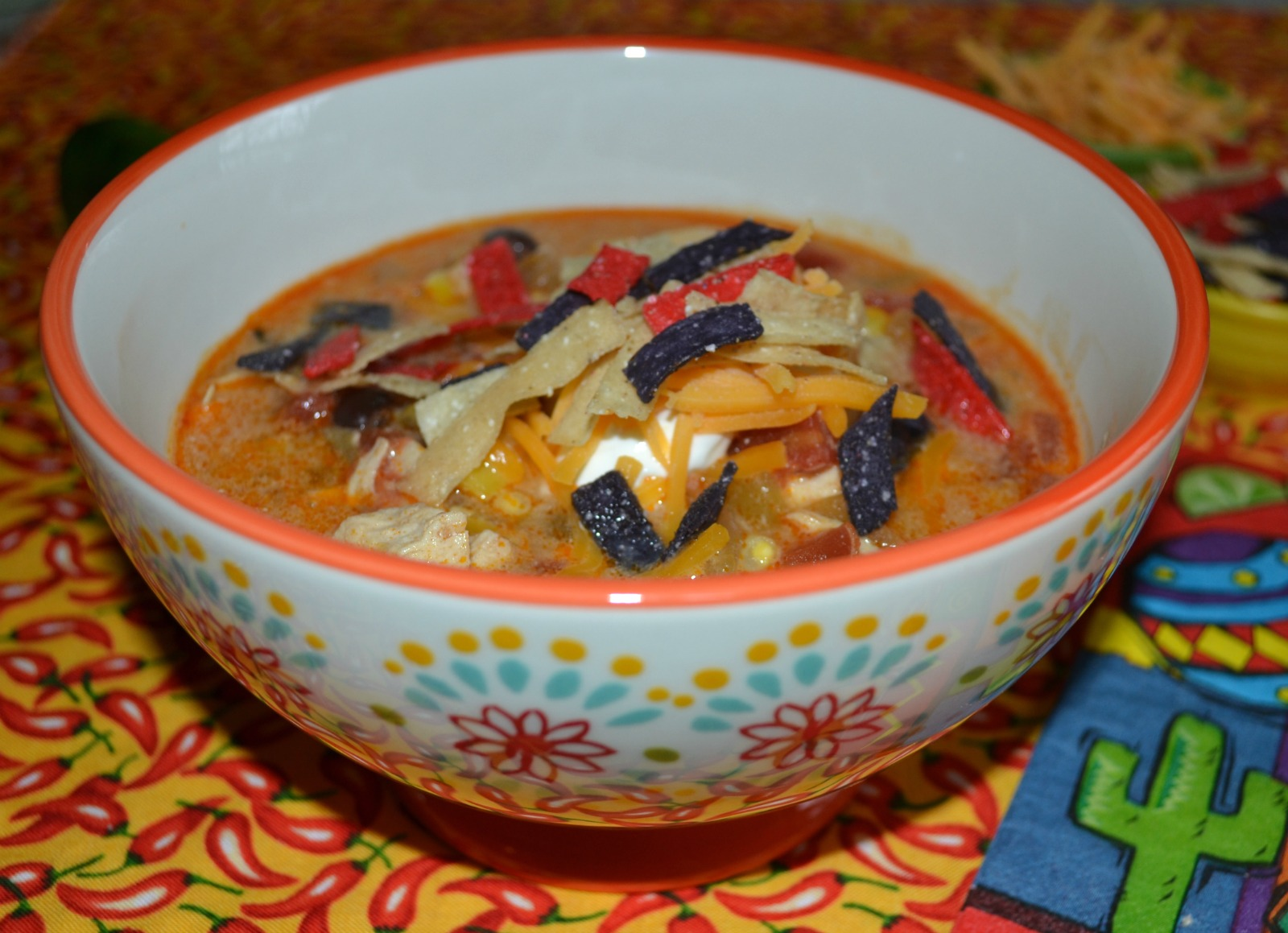 downsized cooking, spicy chicken enchilada soup, cooking for 2