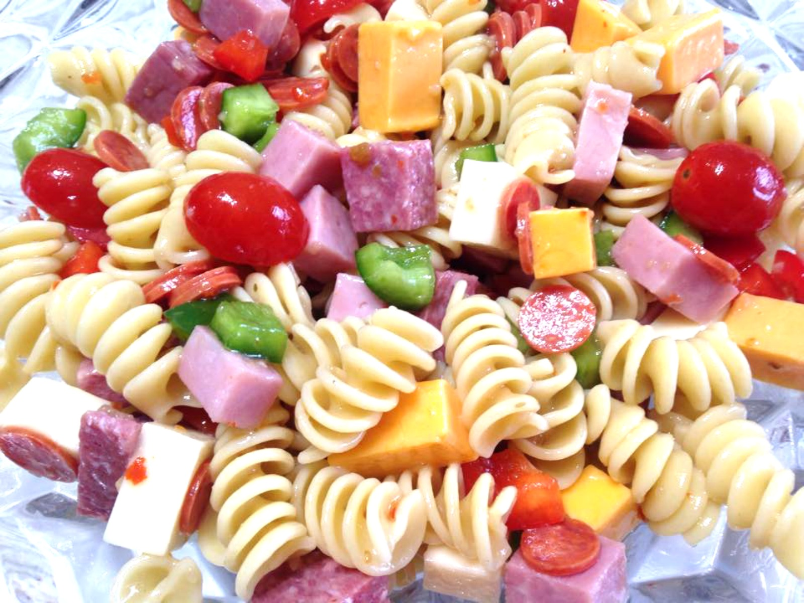 pasta salad, cooking for 2, ham, salami, cheeses