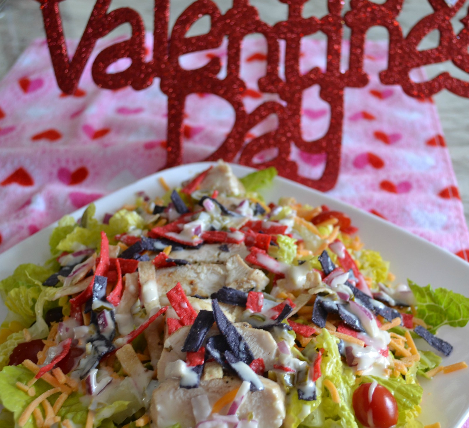 valentines day, southwest chicken salad, jalapeno dressing