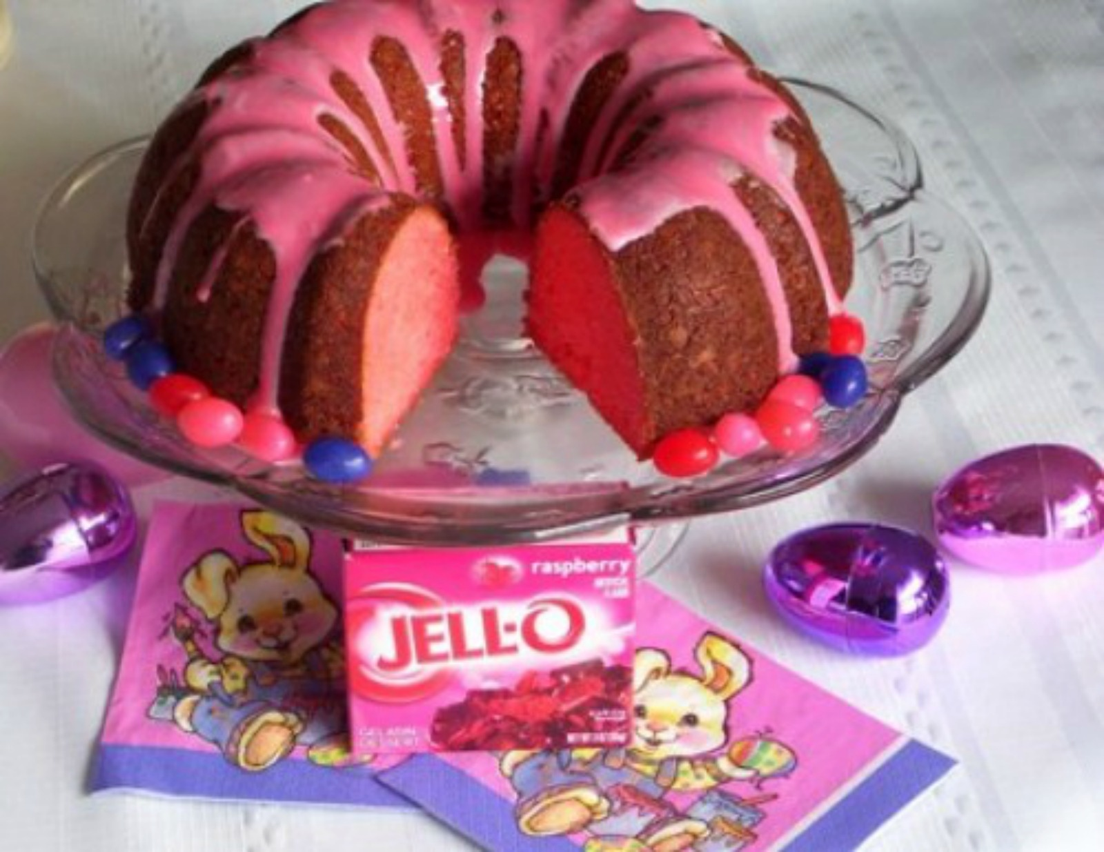 bundt cake, easter, jello, pink velveteen rabbit