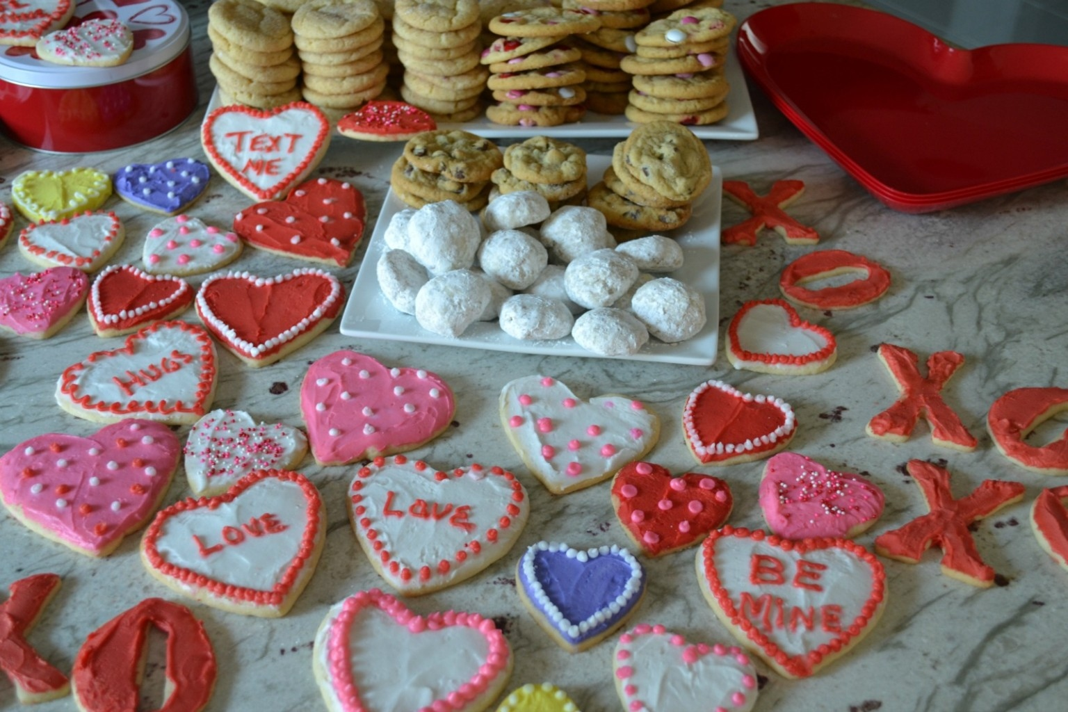Valentine's Day's treats for the grandkids., including cookies and sweet treat bags.