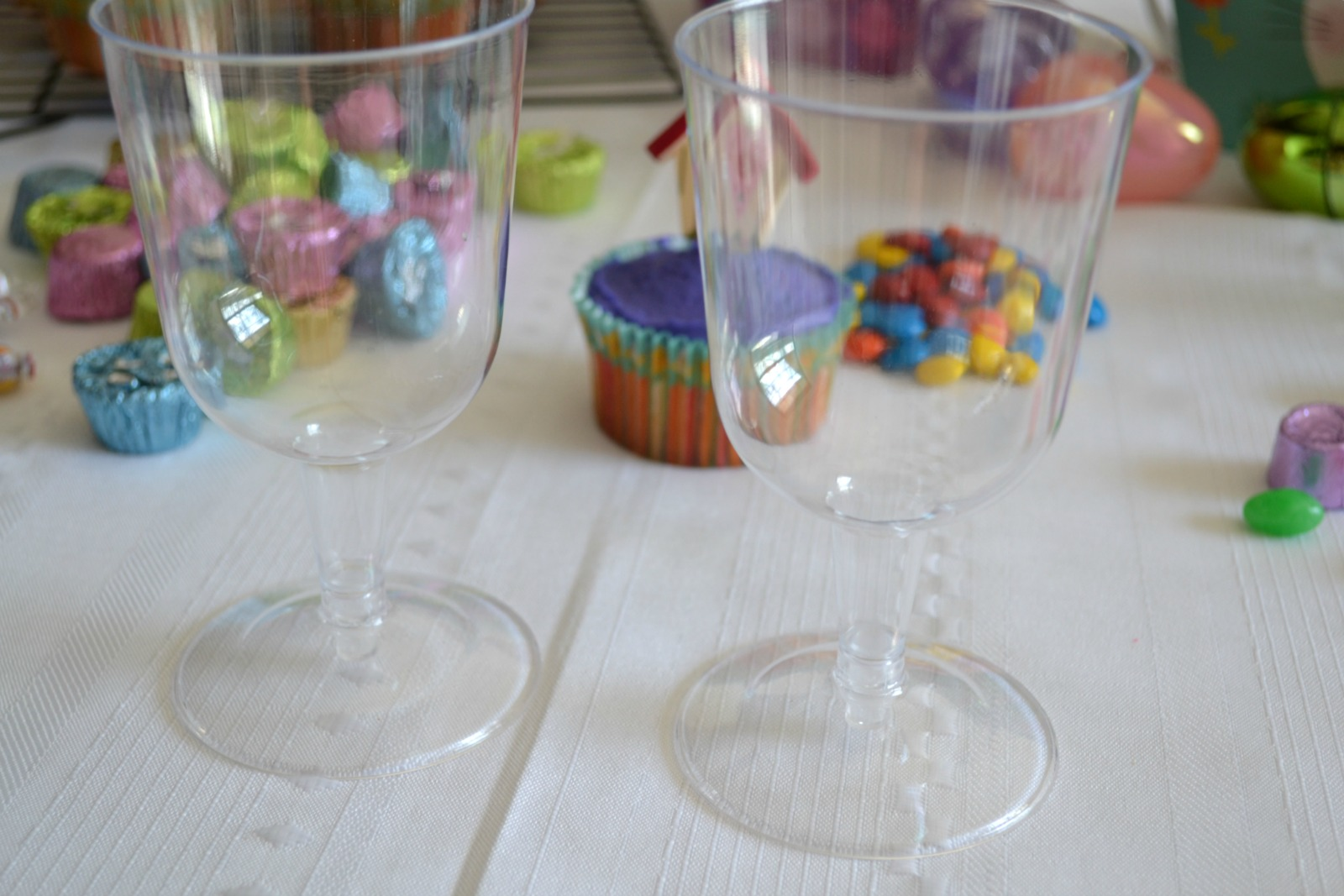 easter treats, candy bags, plastic stem glasses