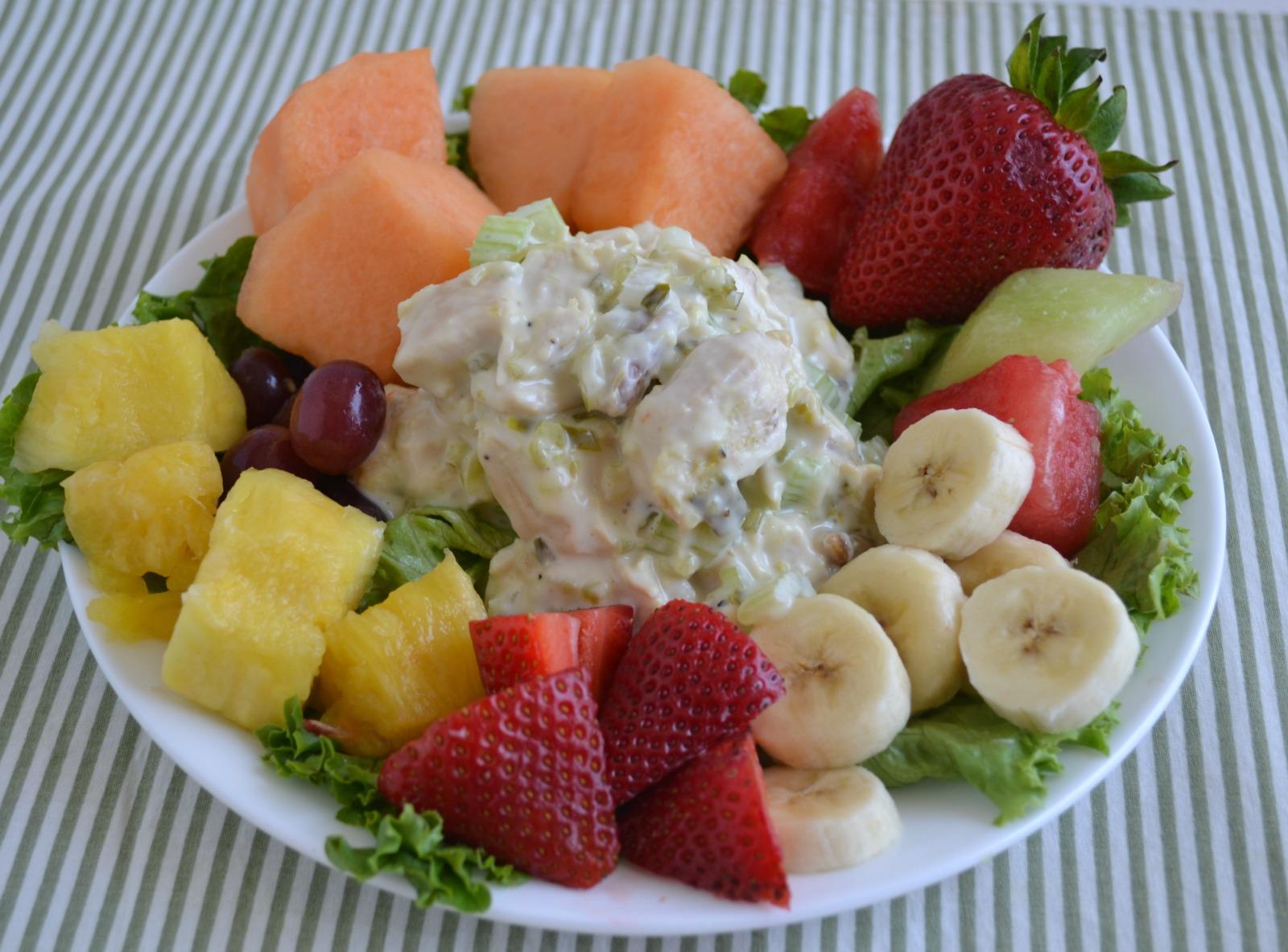 chicken salad, honey, pecan, rotissere chicken, fruit plate