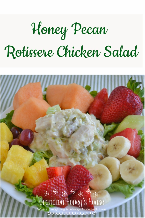 Honey Pecan Rotisserie Chciken Salad is delicious, easy to make and perfect for hot summer days.