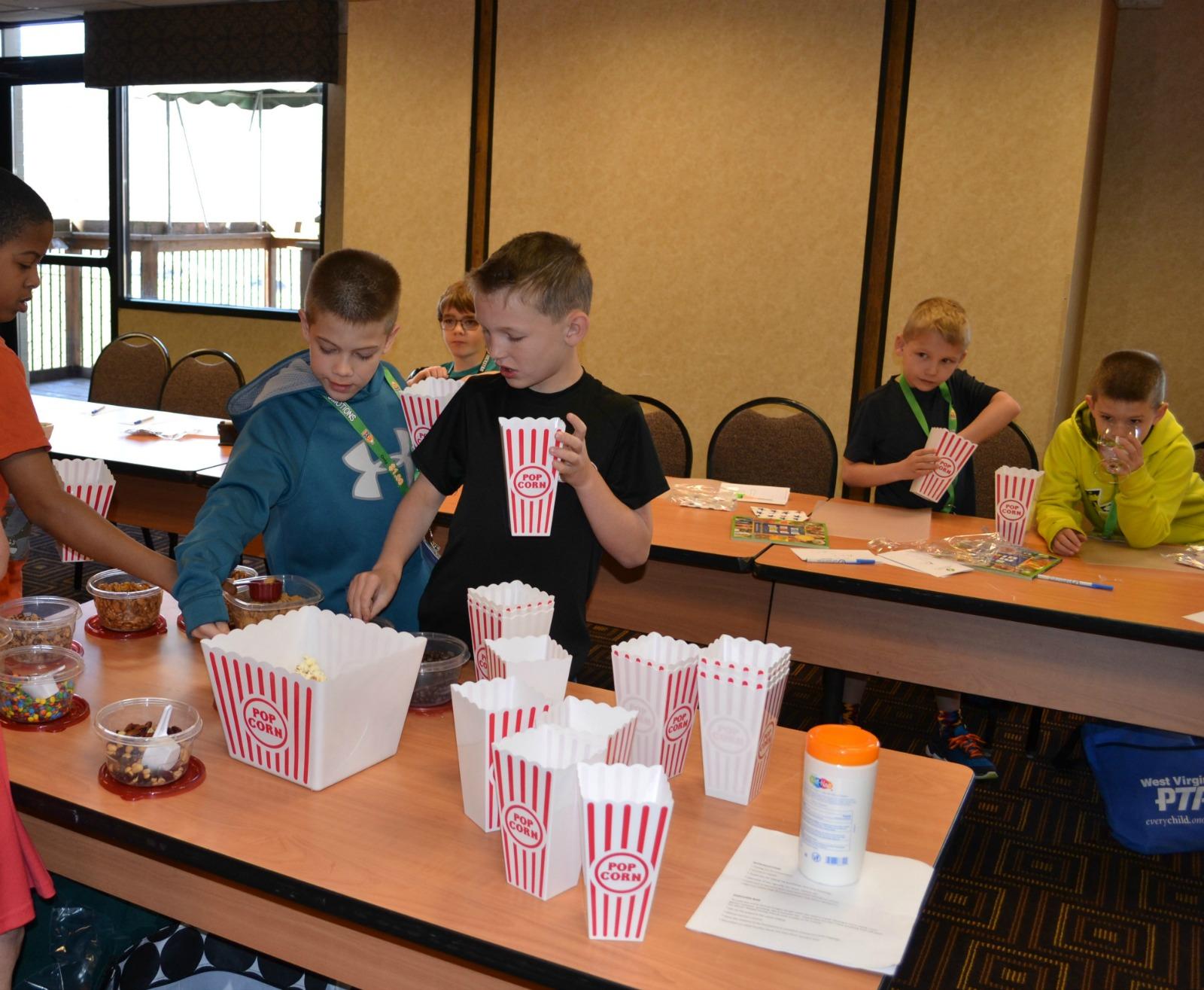 healthy snack, popcorn bar, pta workshop