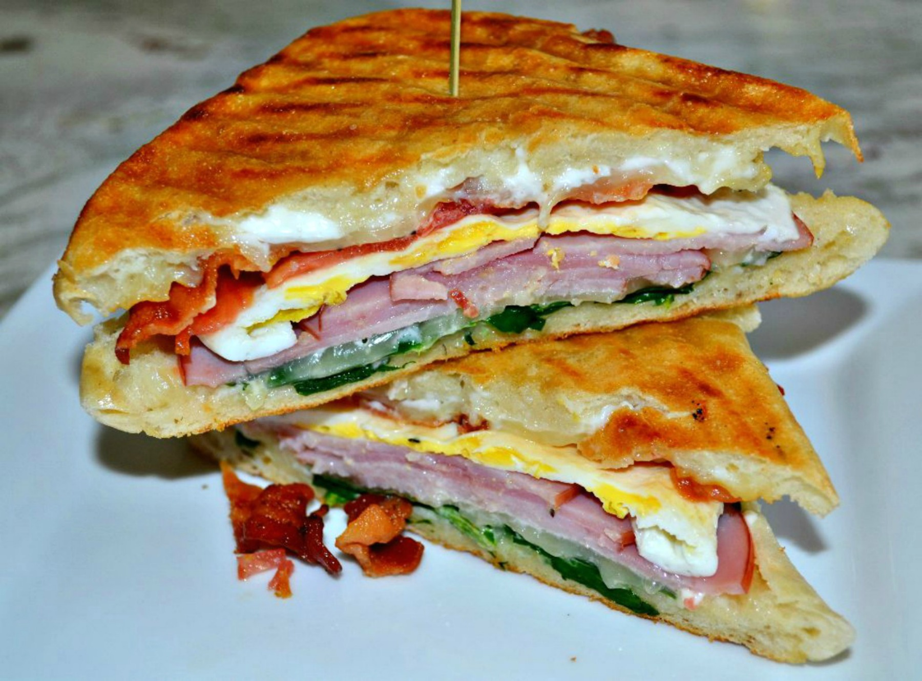 loaded breakfast panini, ham, breakfast sandwich