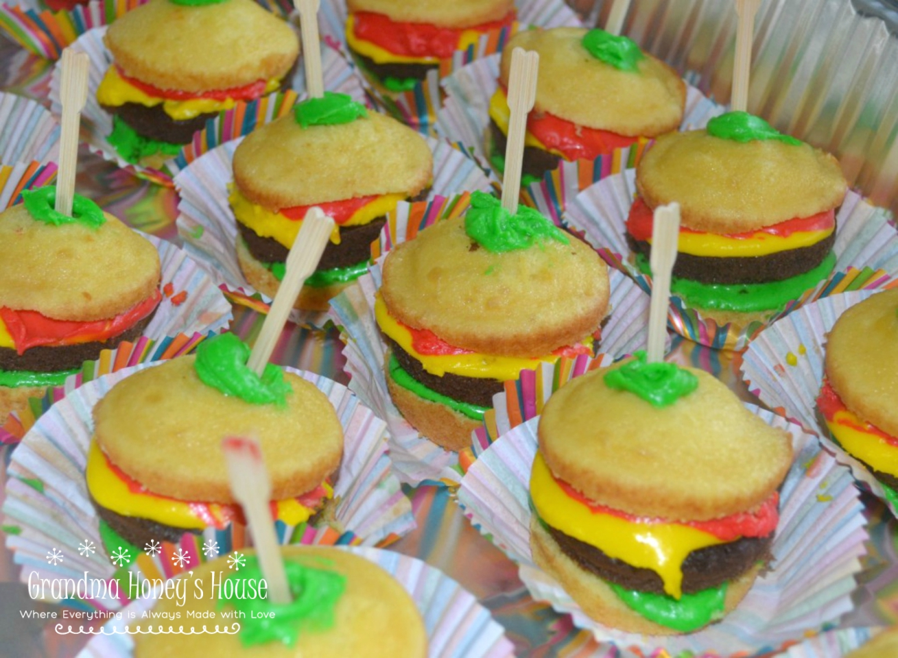 Cook-out Cupcakes are a fun and tasty summertime dessert. Cupcakes are decorated to look like a cheeseburger. Loved by adults as well as children.
