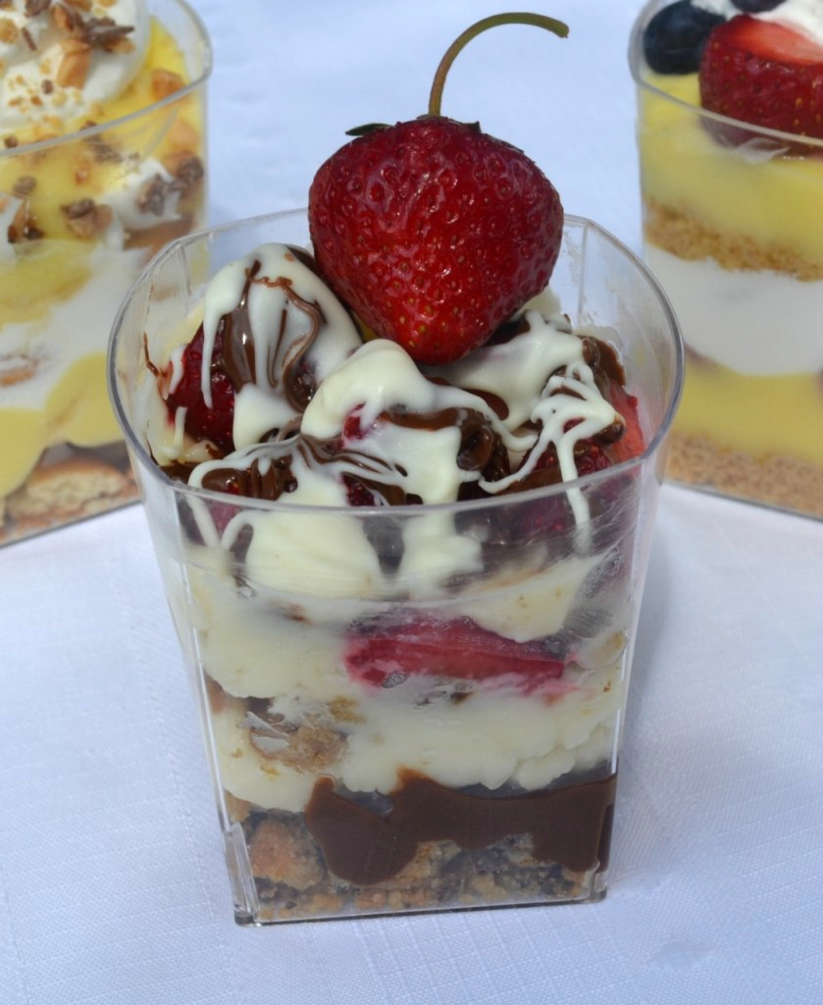 parfait bar, strawberries, bananas, fruit, mascarpone cheese