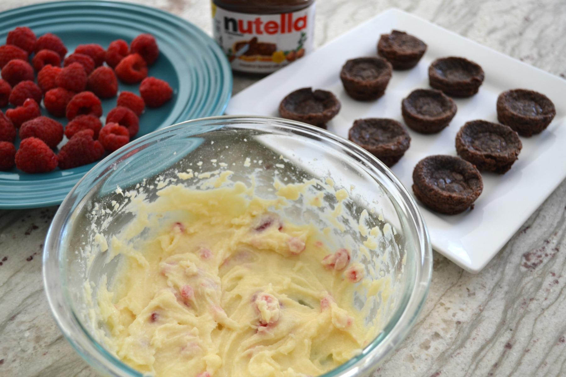 brownie bites, raspberry, nutella, mascarpone cheese