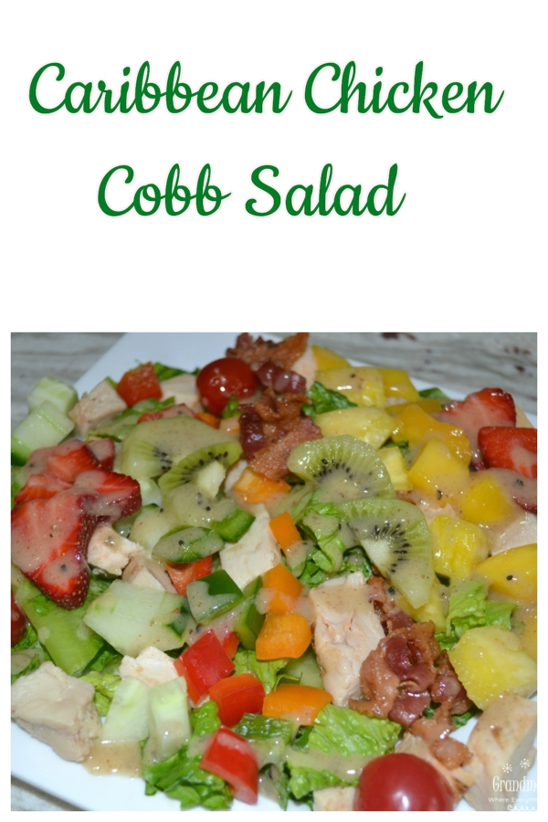This Caribbean Chicken Cobb salad is colorful, light, and packed with lots of meat, fruits and veggies. Perfect for lunch or a light dinner.