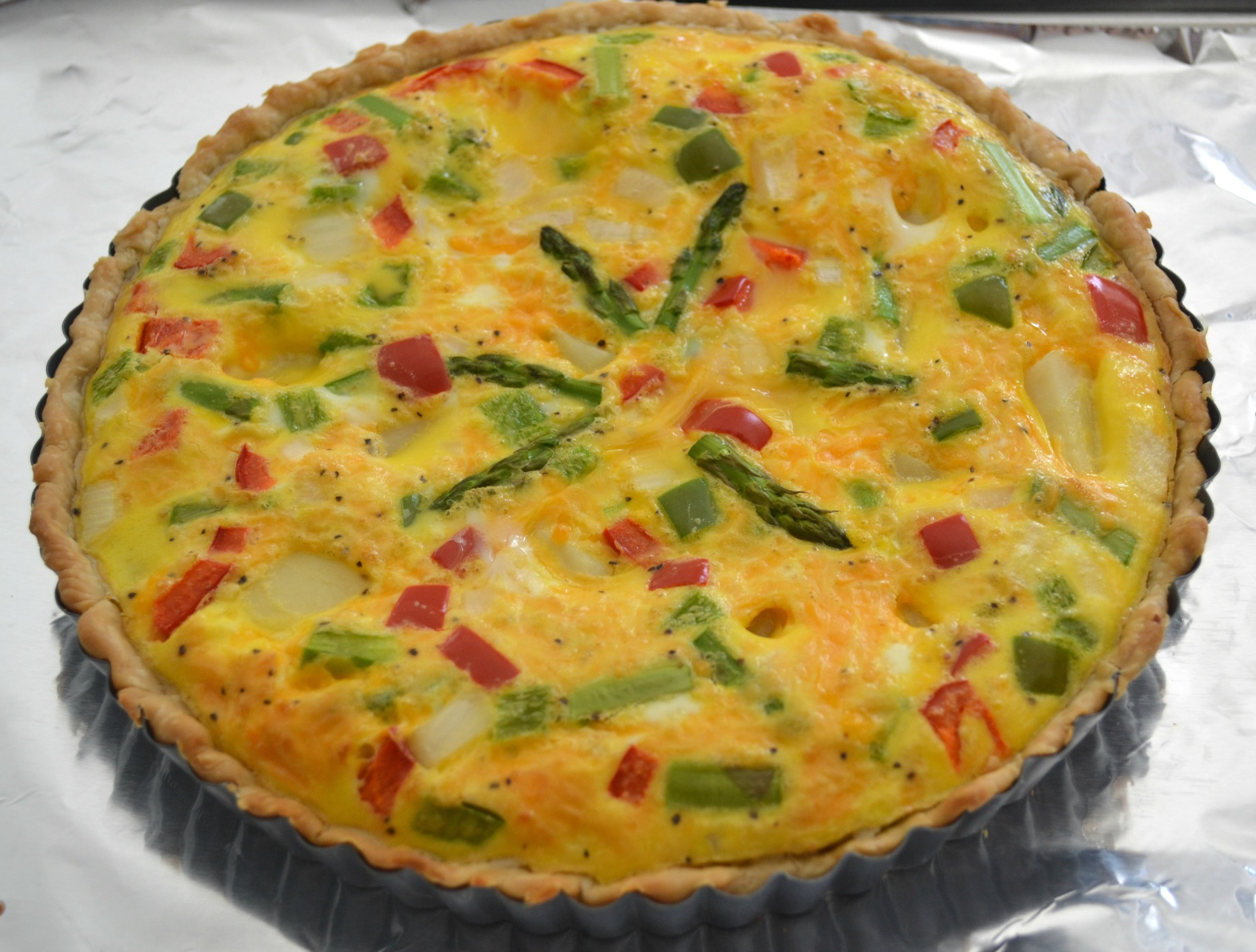 veggie tart, breakfast, brunch, eggs, cheese, asparagus