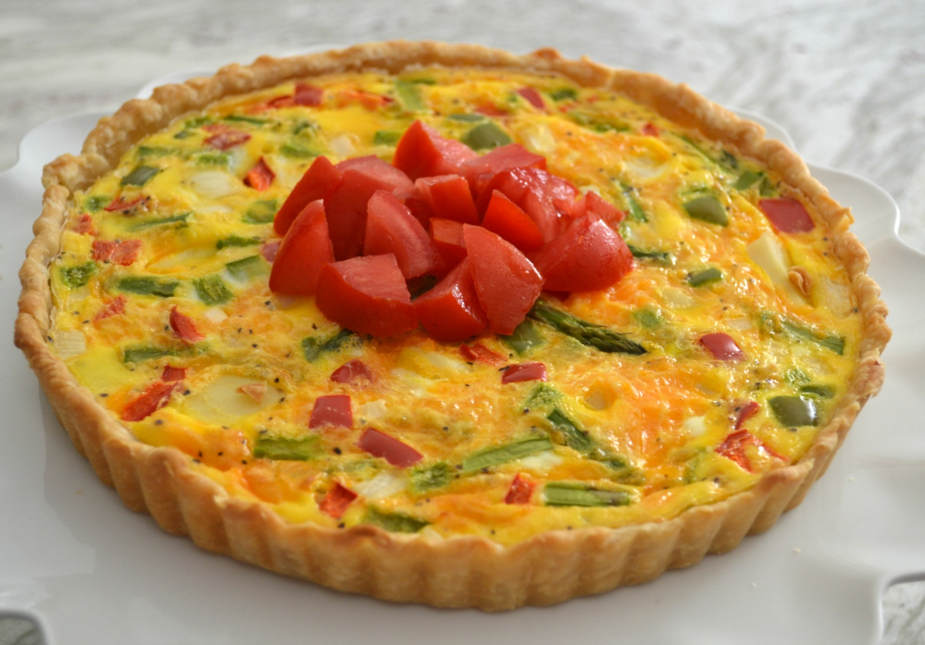 garden tart, brunch, breakfast, eggs, asparagus