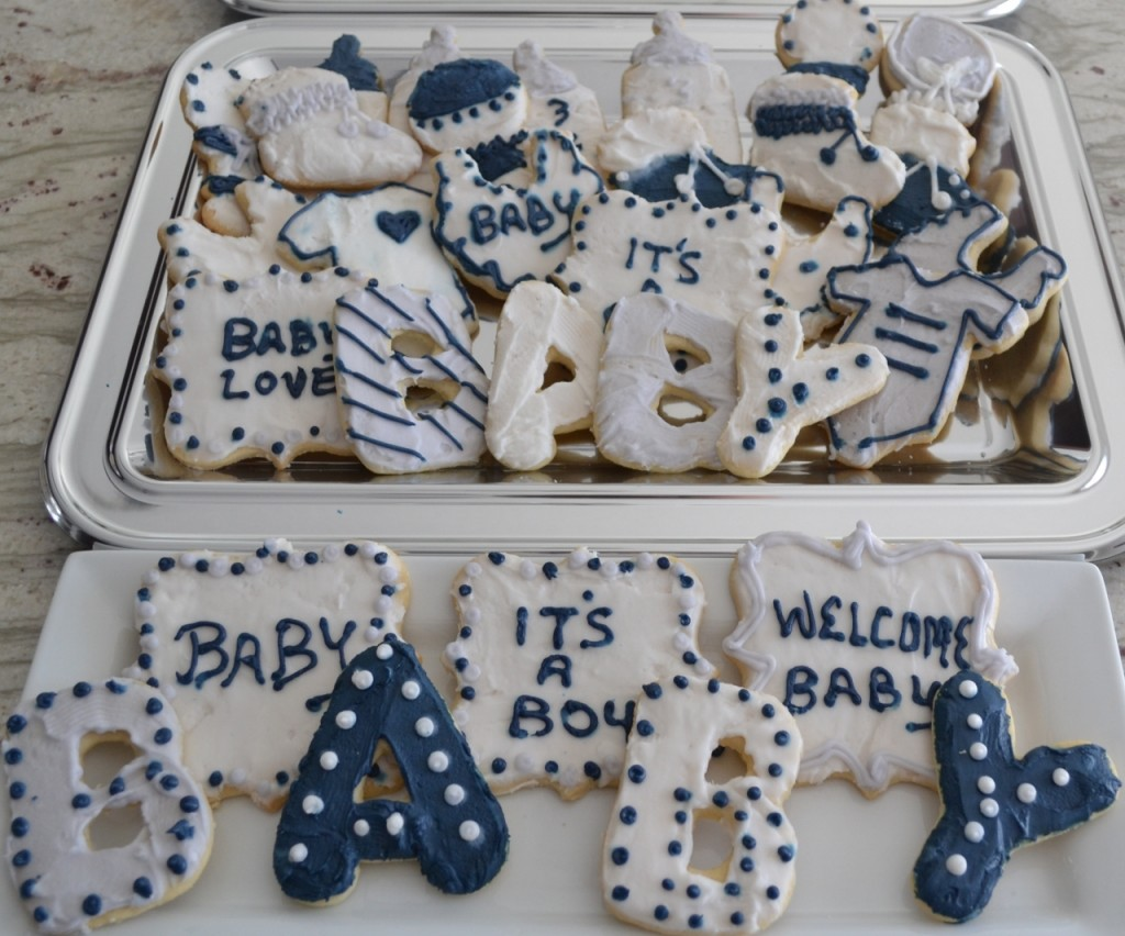 decorated sugar cookies, baby shower