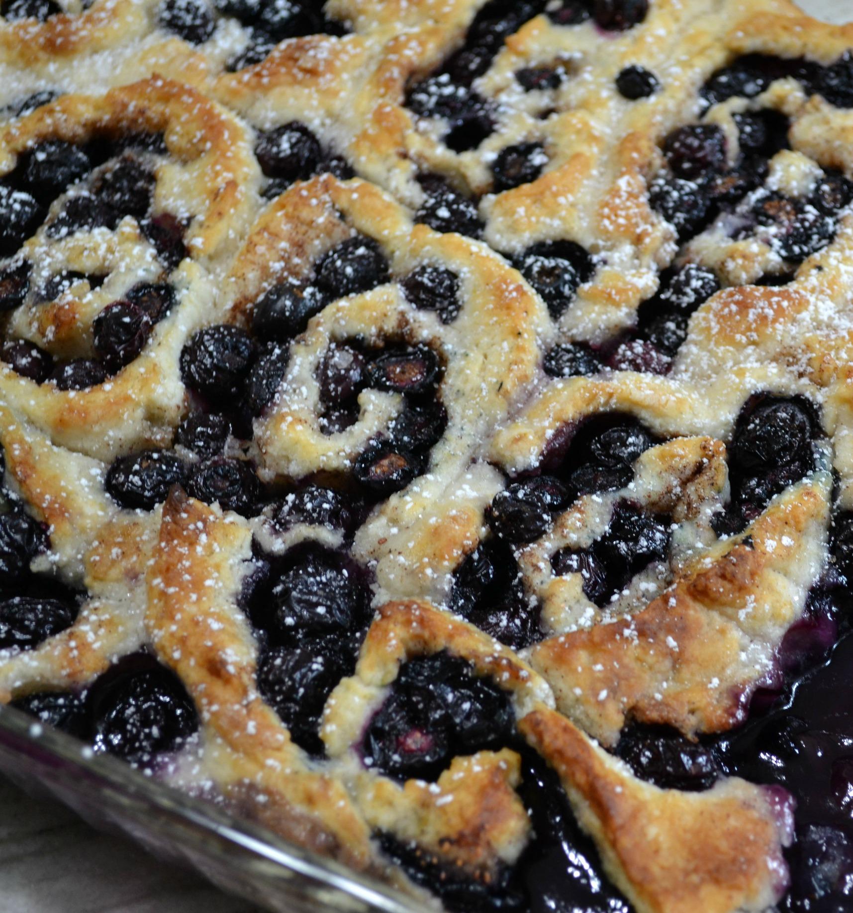 blueberries, dessert, cobbler