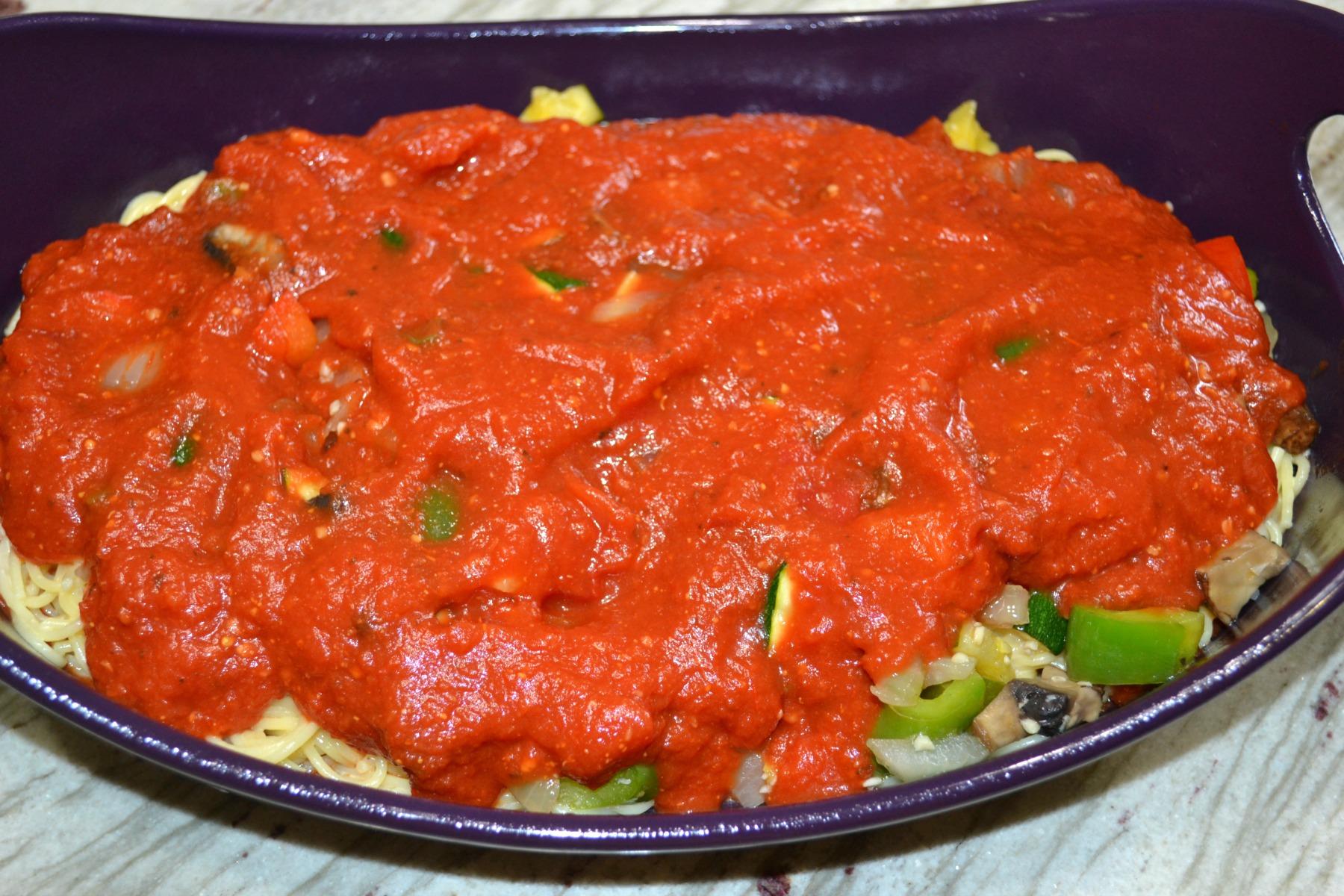 spaghetti bake, pasta, vegetables, casseroles, cheese