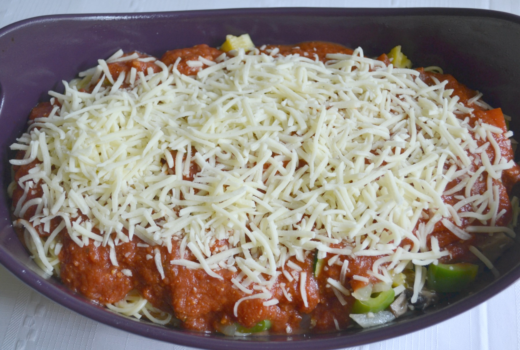 spaghetti bake, garden patch, vegetables, pasta, cheese, casserole