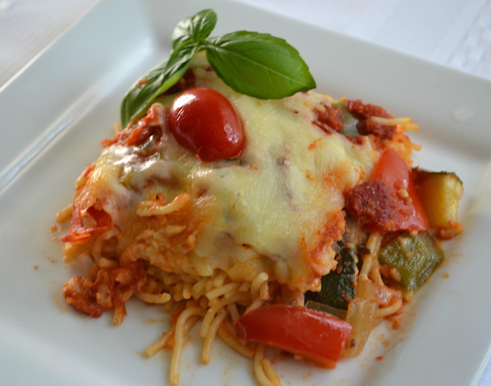 garden patch, spaghetti, pasta, cheese, casserole, vegetables