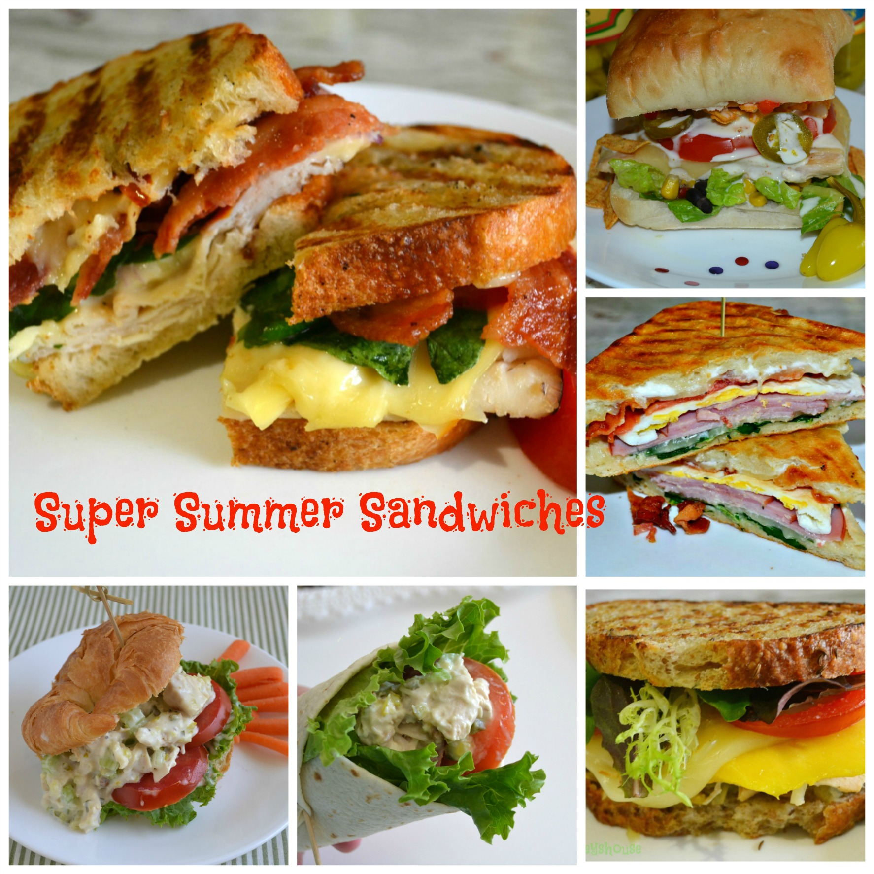 super sandwiches, chicken salad, turkey, bacon, ham, panini
