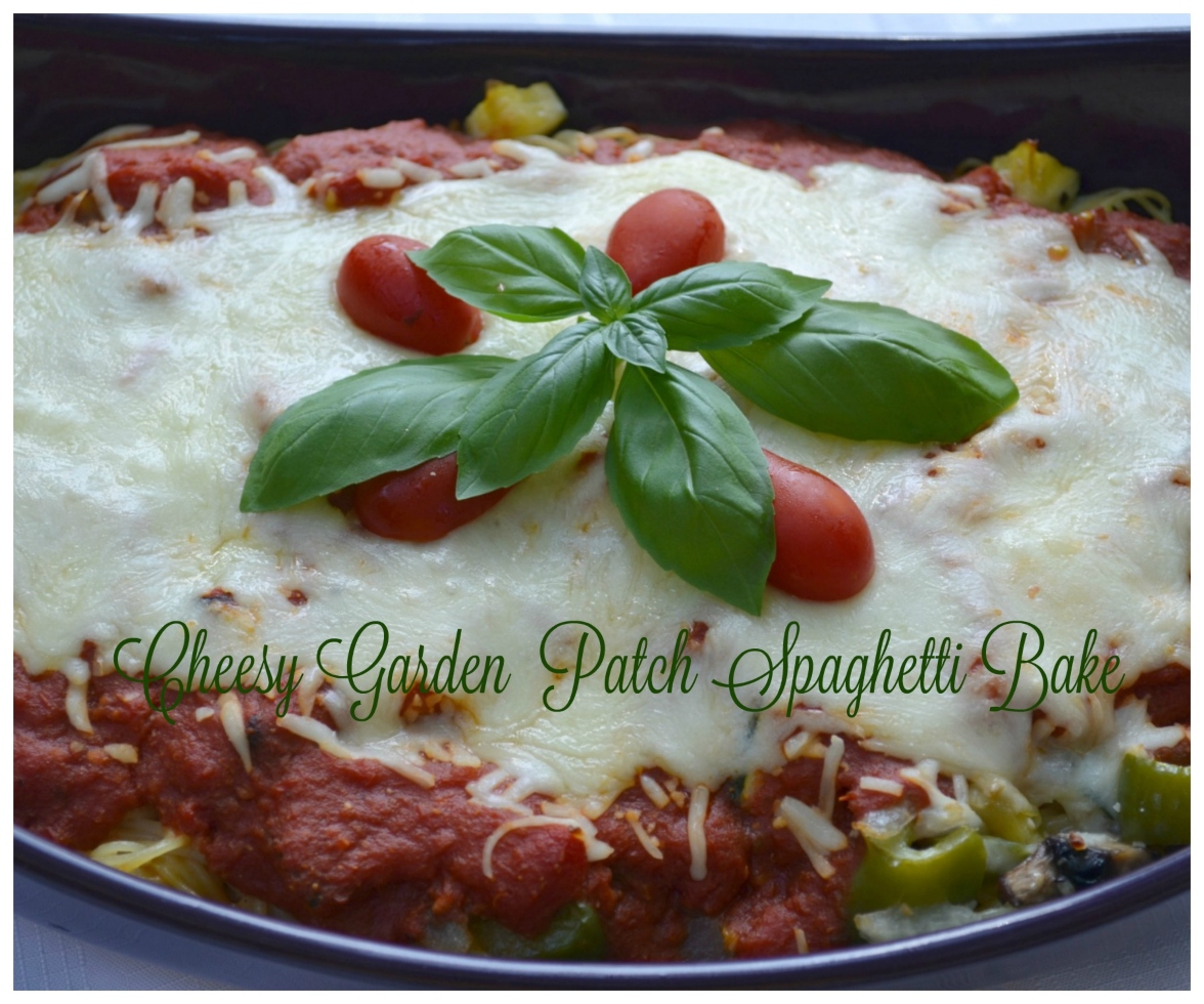 Cheesy Garden Patch Spaghetti bake is loaded with veggies, sauce, pasta and cheese.
