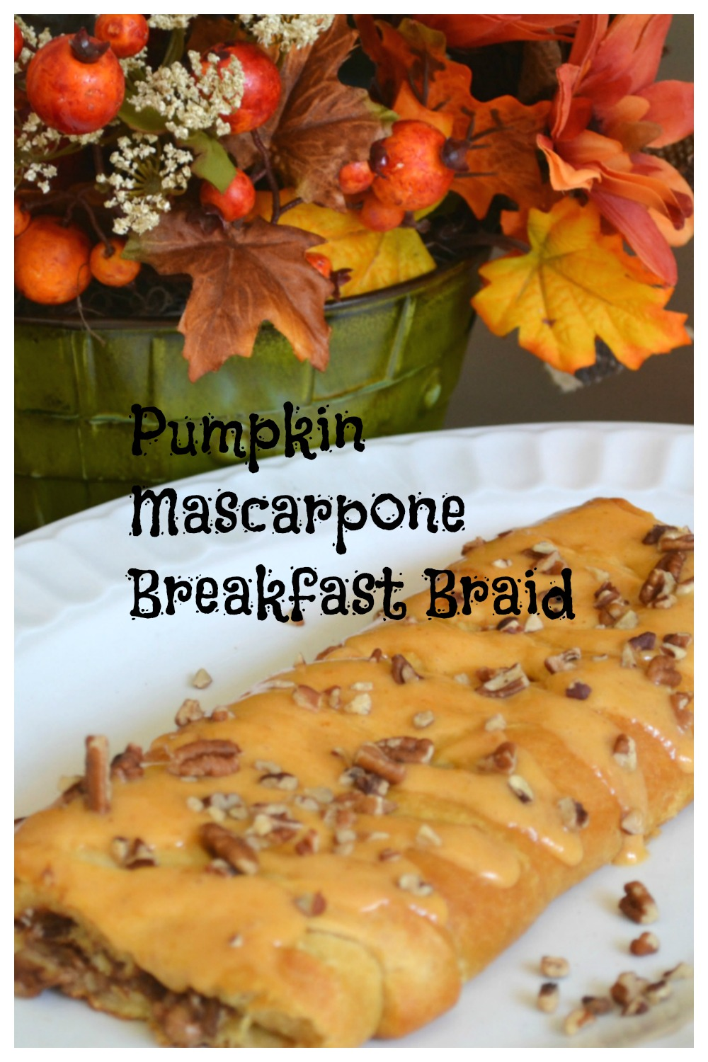 A beautiful breakfast braid filled with pumpkin, mascarpone cheese, and nuts. Baked in a refirgerated cresent dough.