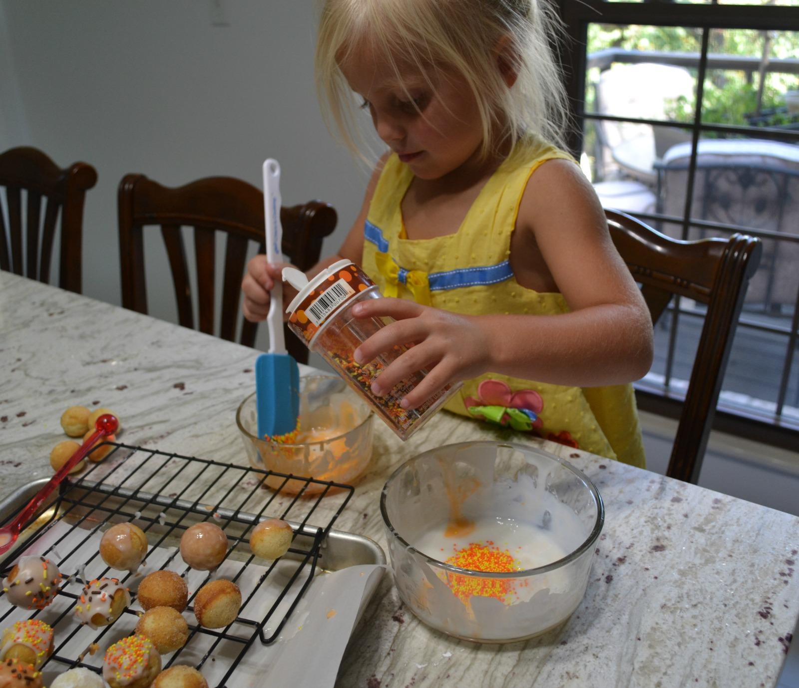donut holes, donut glaze, sprinkles, kids cooking