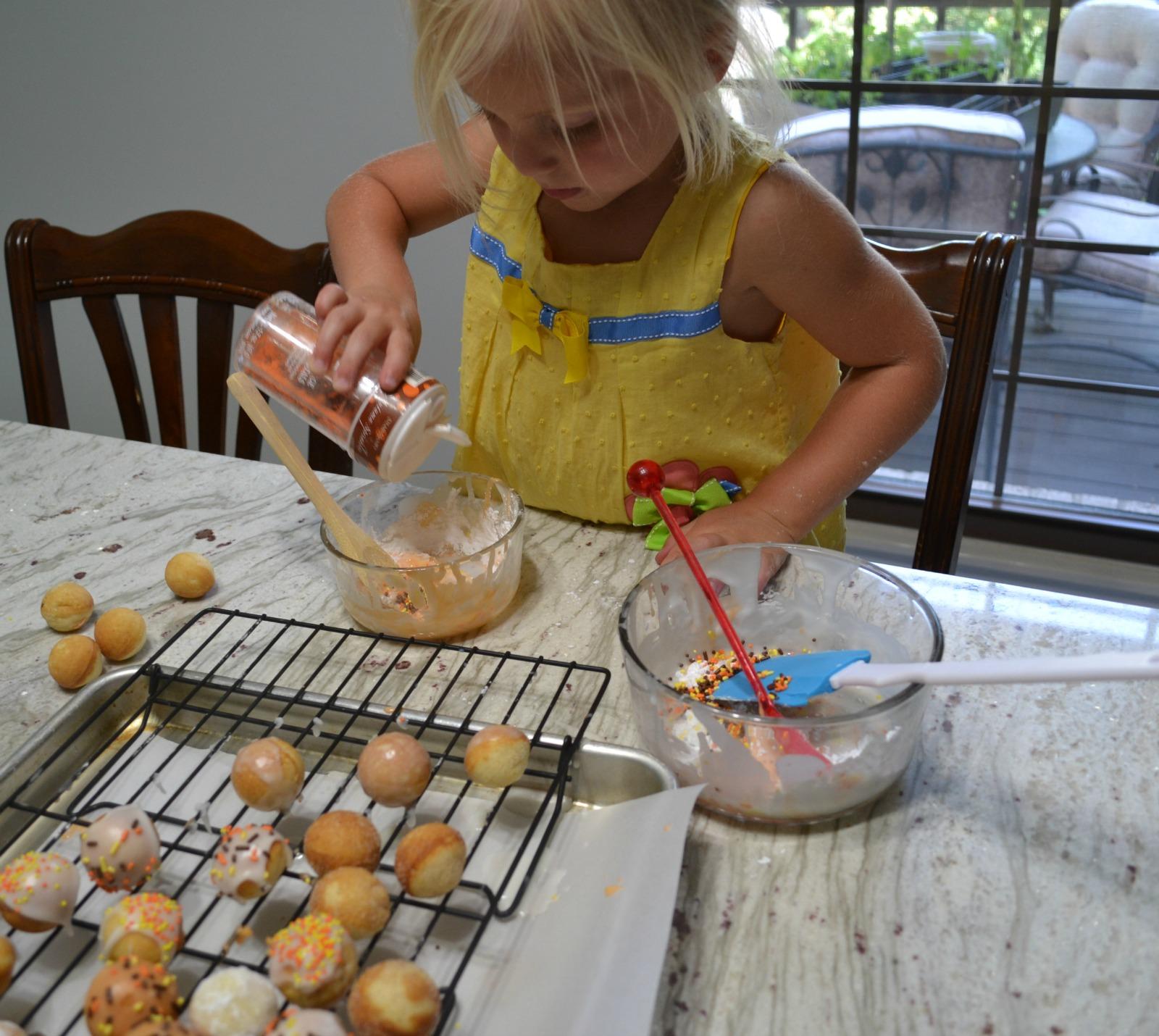 donut holes, kids cooking, donut glaze, sprinkles
