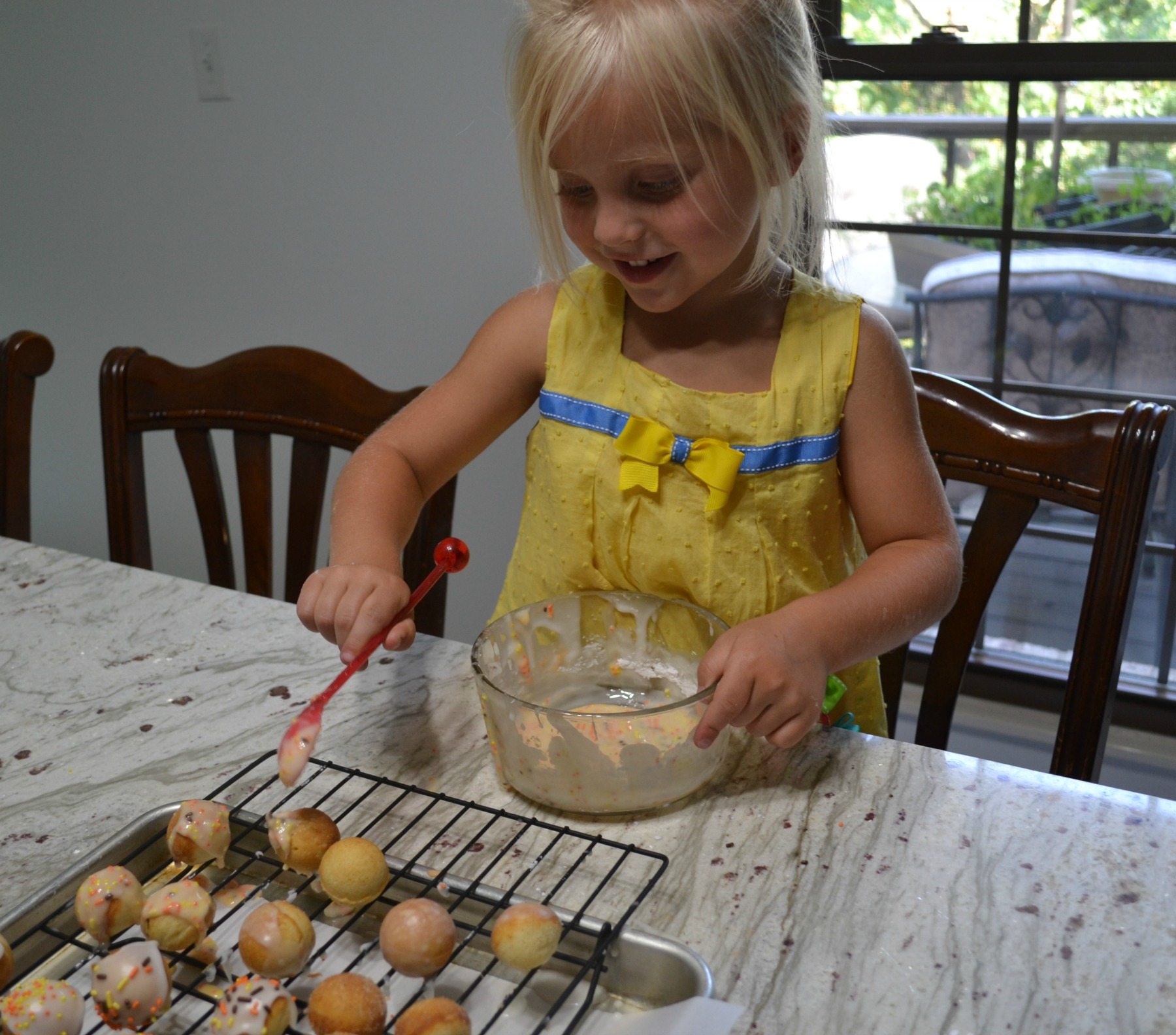 kids cooking, donut holes