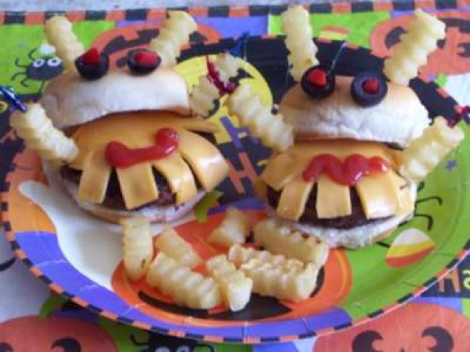 halloween party, halloween, mini monster burgers