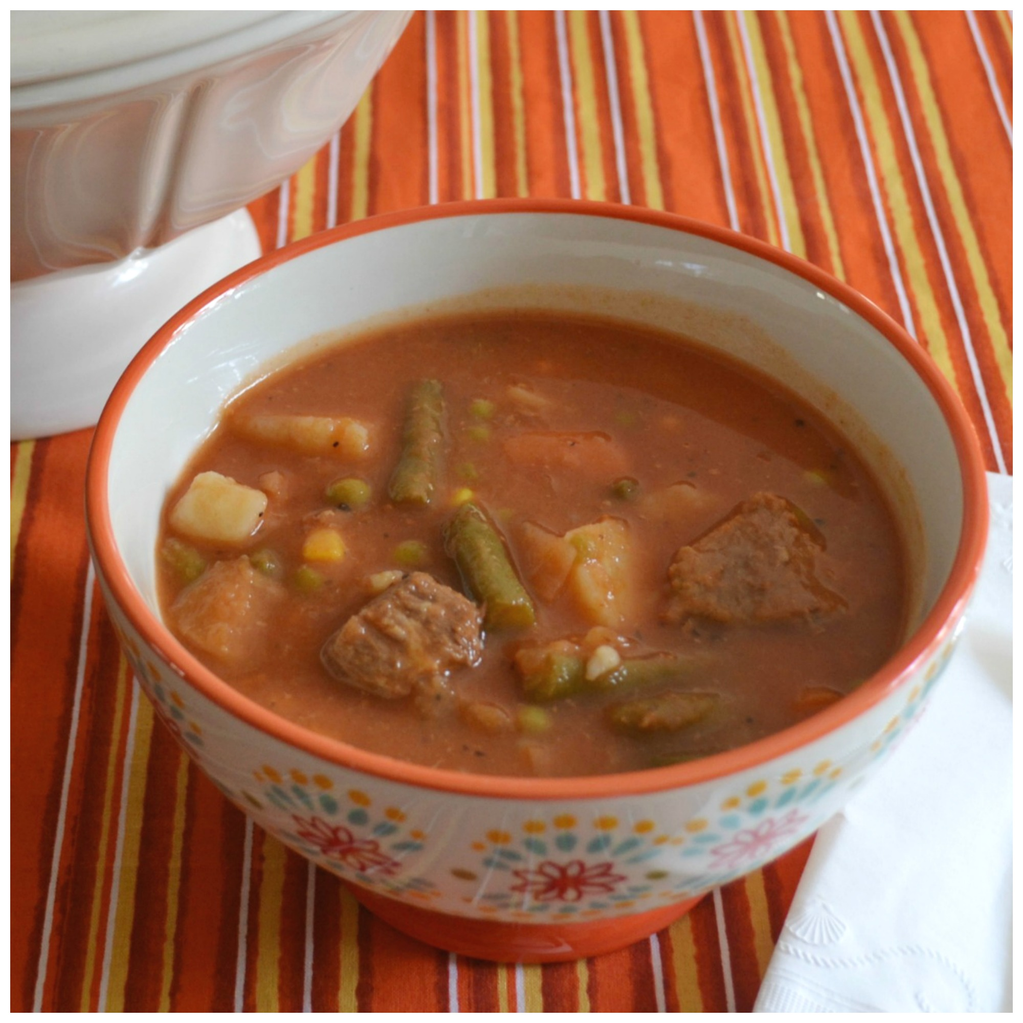 An old fashioned, homemade soup packed with tender beef and vegetables. soup, vegetables