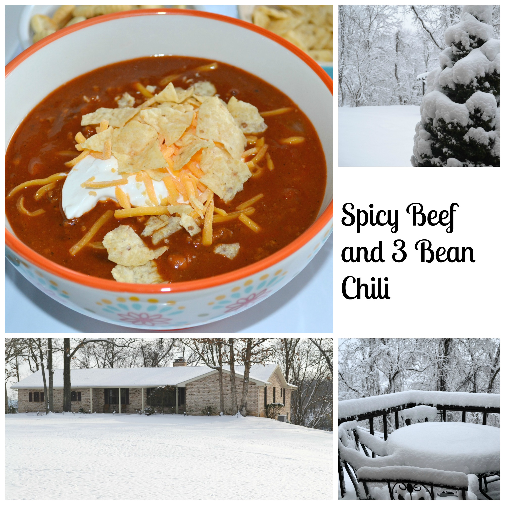 Recipe for homemade chili. Spicy Beef and 3 Bean Chili. Perfect for a cold, snowy day.