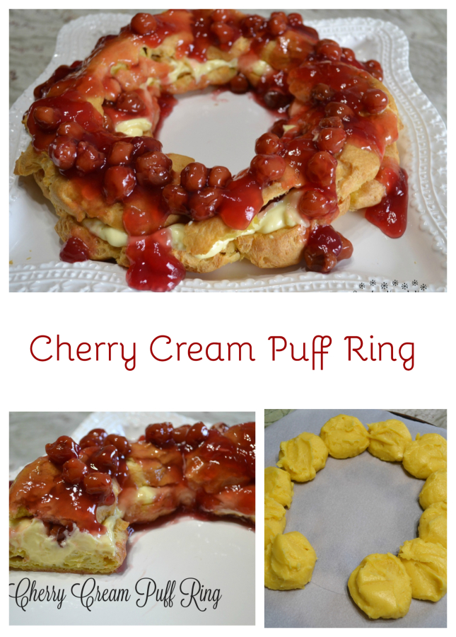 This elegant dessert is a cream puff ring filled with pudding and cherry pie filling.