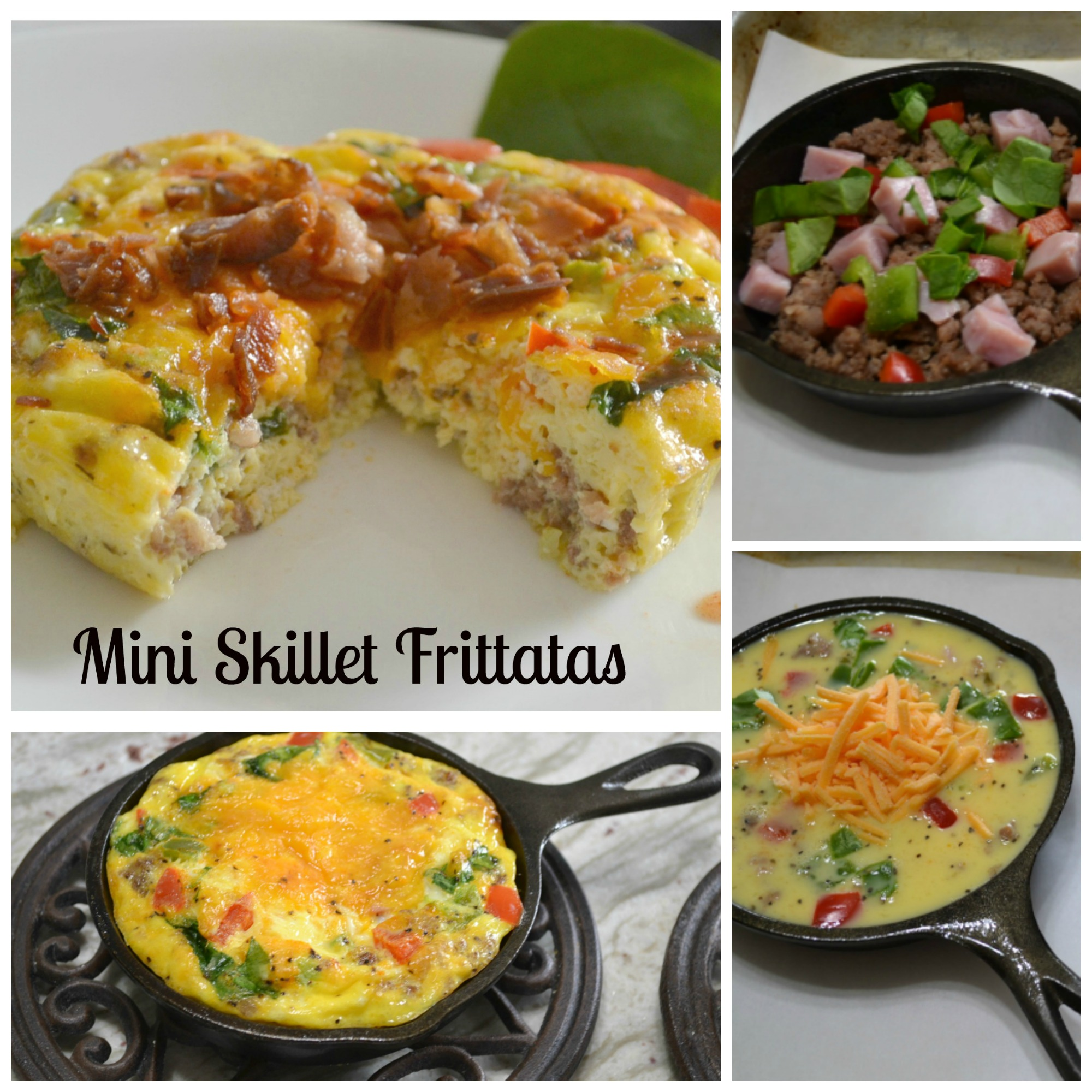 A delicious brekfast frittata made in a mini cast iron skillet. Packed with meats, veggies and cheese.