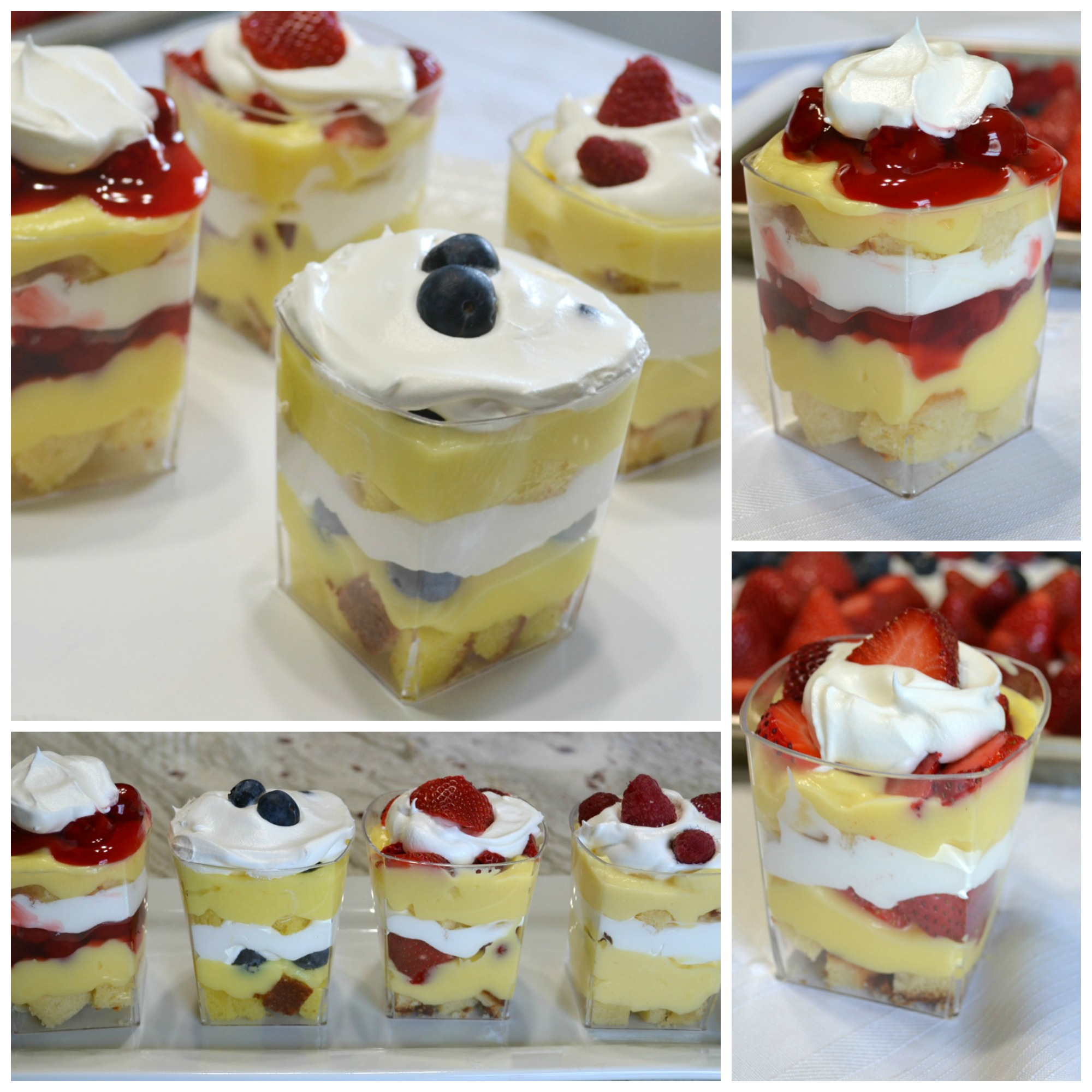 Punch bowl cake arranged in individual plastic cups. A variety of ingredients make them colorful and delicious.