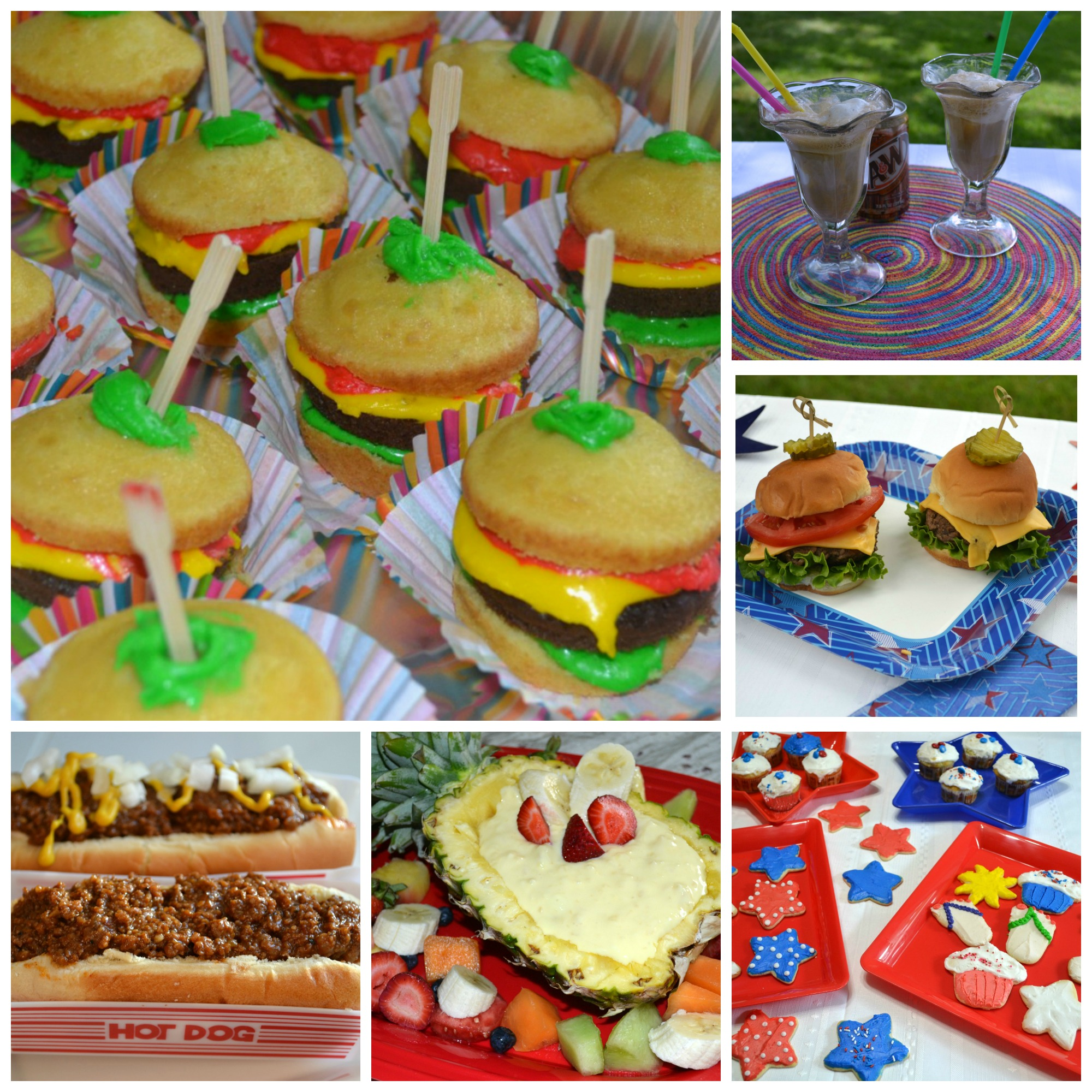 A collection of fun foods kids like to eat at a cook-out. Straight from the grandkids!