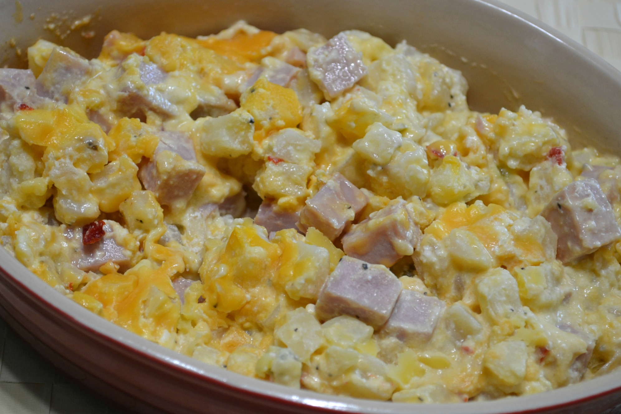 Hash brown casserole recipes with ham cubes.