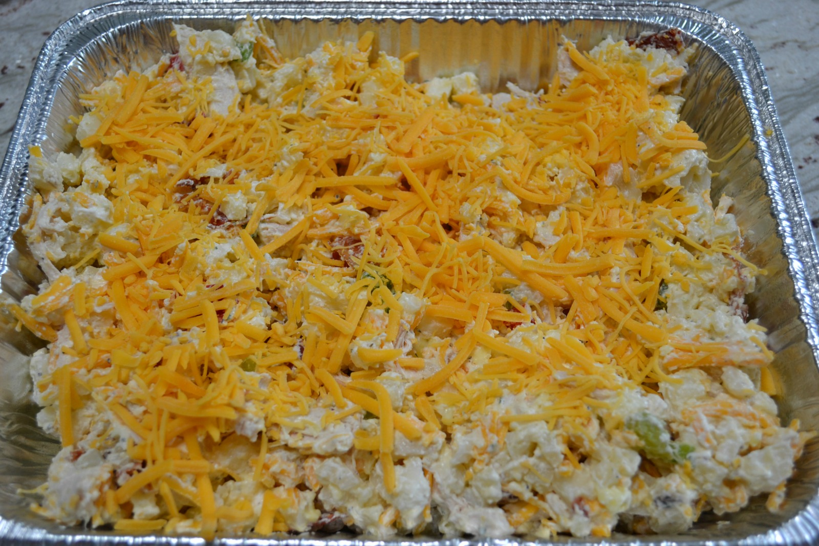 A hearty variation to the hashbrown casserole with chicken, bacon and ranch ingredients.