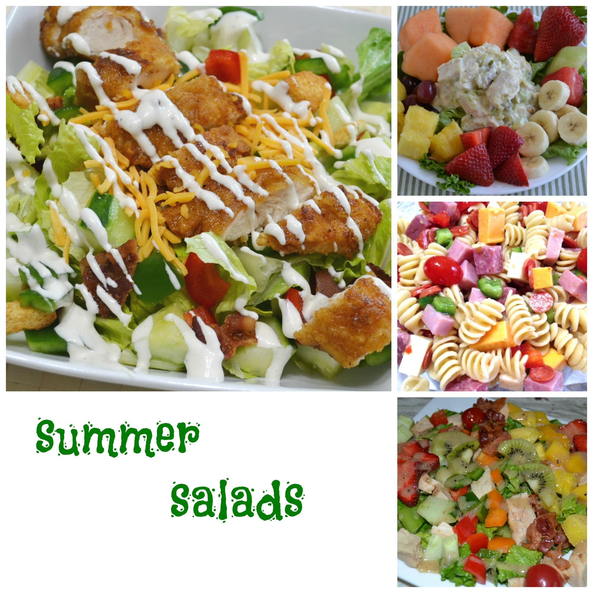 A collection of summer salads packed with meats, cheese, fruits and veggies. Perfect for a summertime dinner.