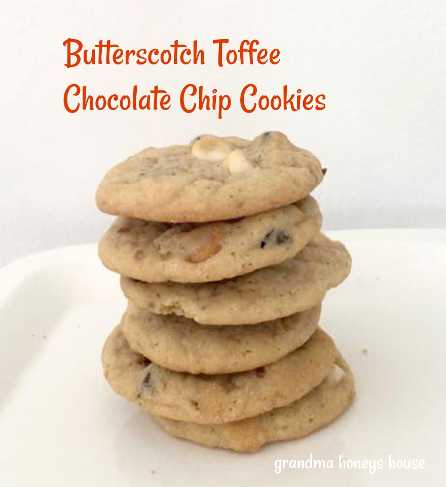 Butterscotch Toffee Chocolate Chip cookies are packed with butterscotch, milk choc, white choc chips and toffee bits.