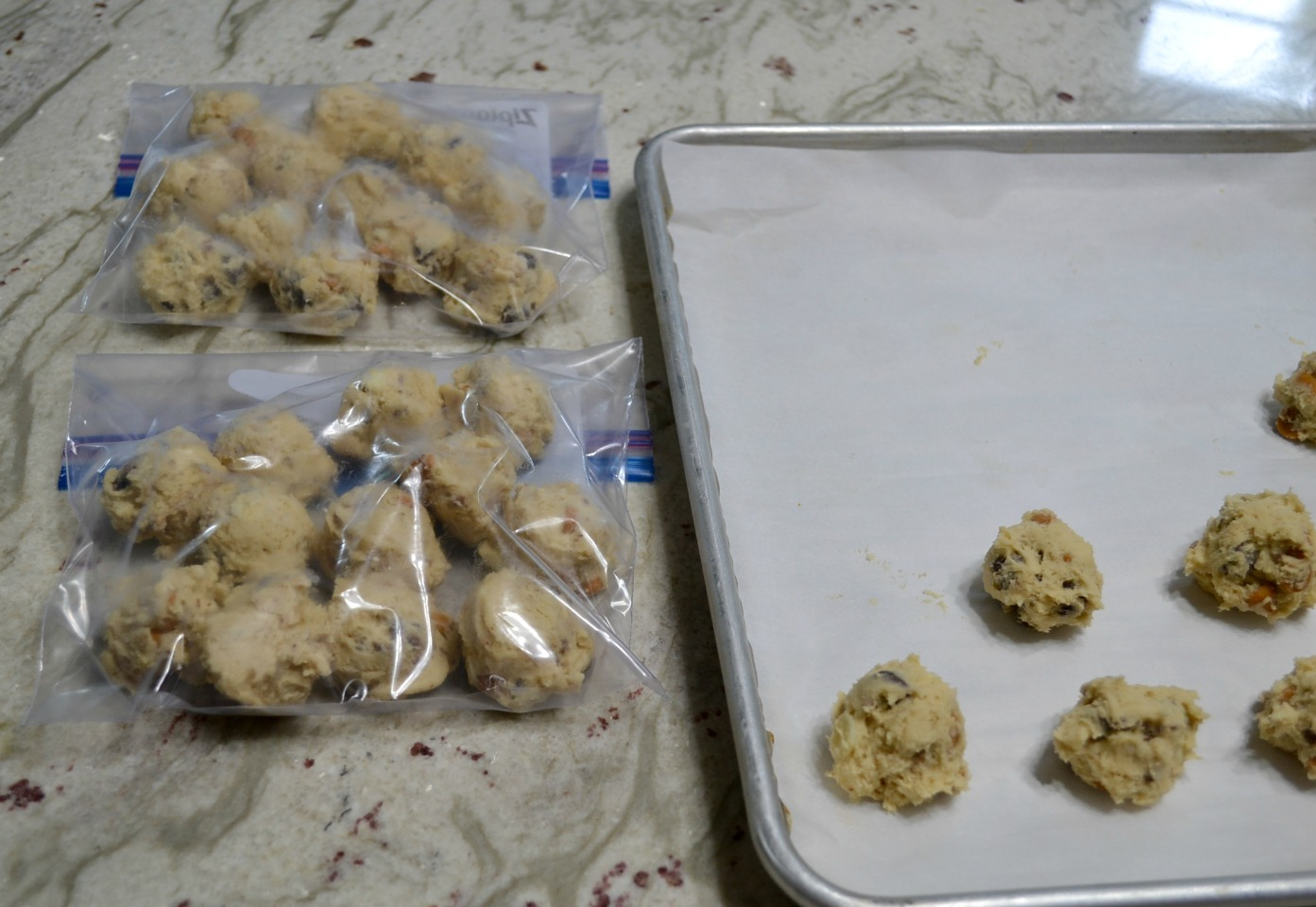 Preparing freezer cookie dough balls ahead of time allows you to bake fresh, homemade cookies in minutes with no mess