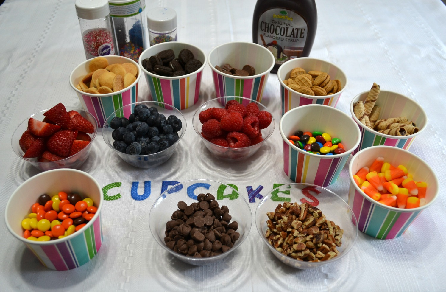 A fun idea for any party or get together with a build it yourself cupcake bar.