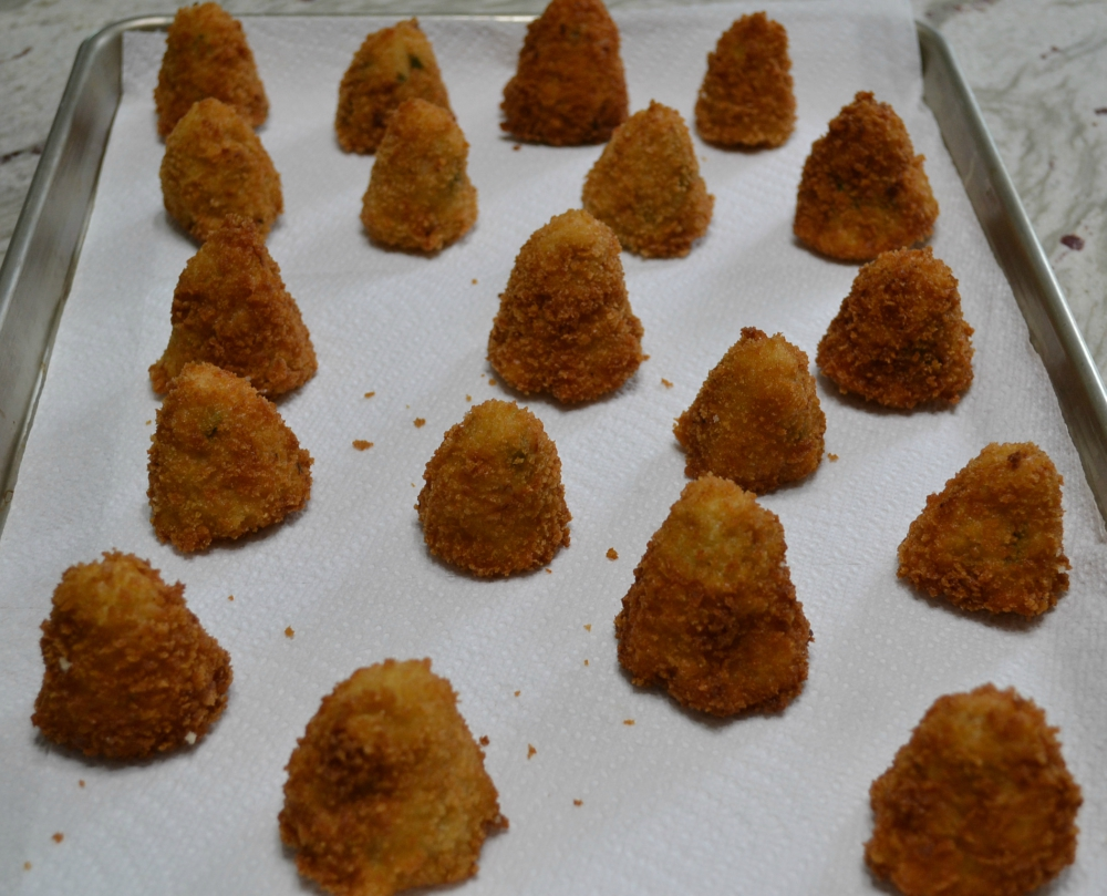 Mini Chicken Bacon Croquettes are cone shaped, crispy bites perfect for dipping at your next tailgate party.