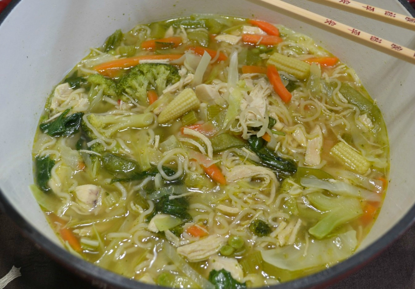 Delicious chicken noodle soup with a twist.