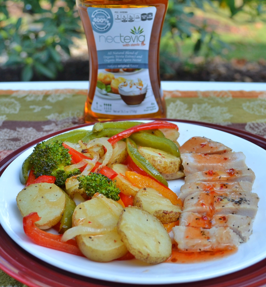 Sheet pan turkey cutlets and veggie dinner drizzled with a sauce enhanced by Nectevia.