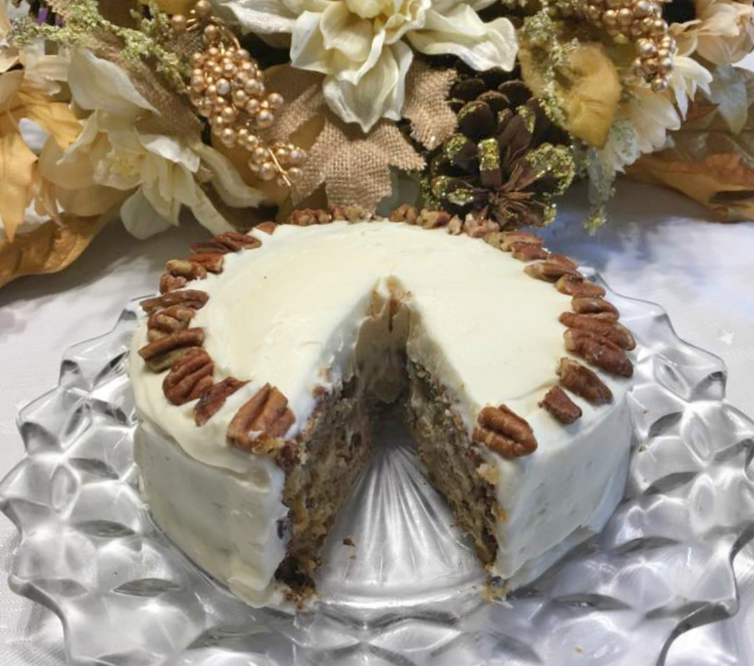 Hummingbird Cake for 2 is a scaled down version of the famous Southern Living Cake of 40 years ago. Rich flavor from the cream cheese icing to batter with pineapples, bananas and pecans.